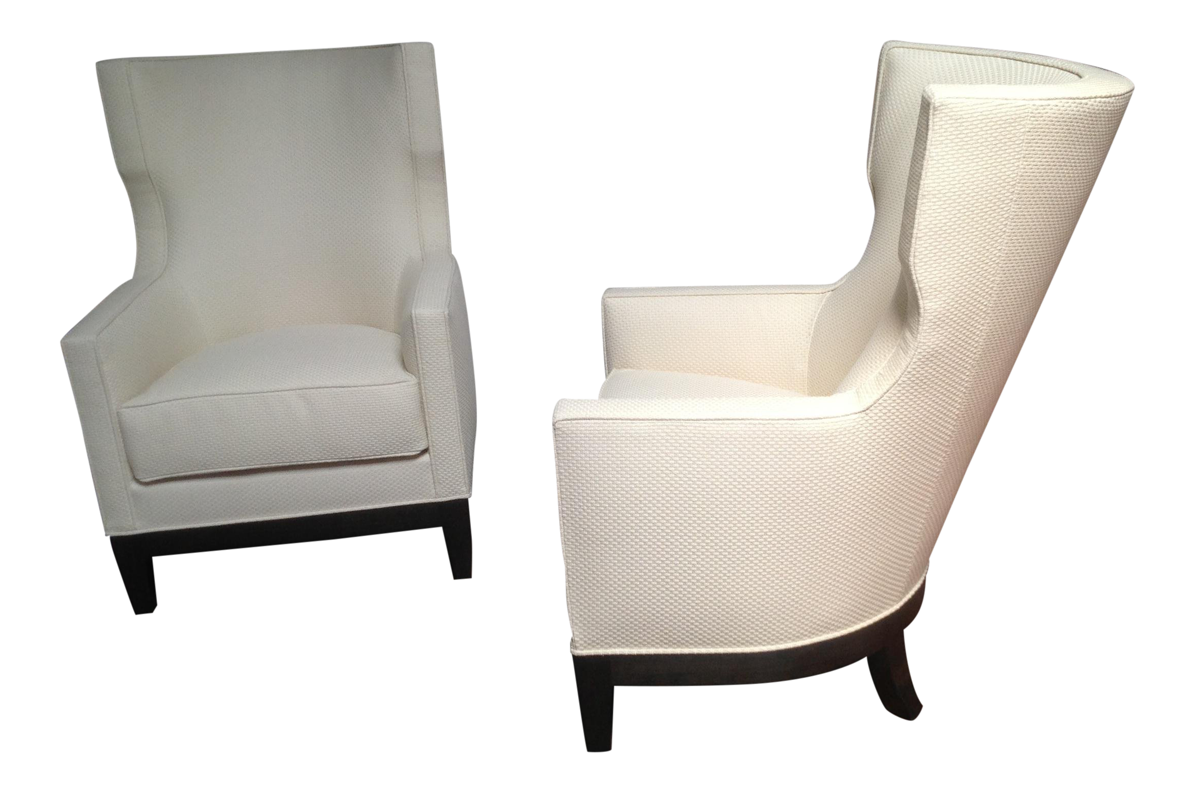 Modern Wing Chairs in Chenille Fabric A Pair