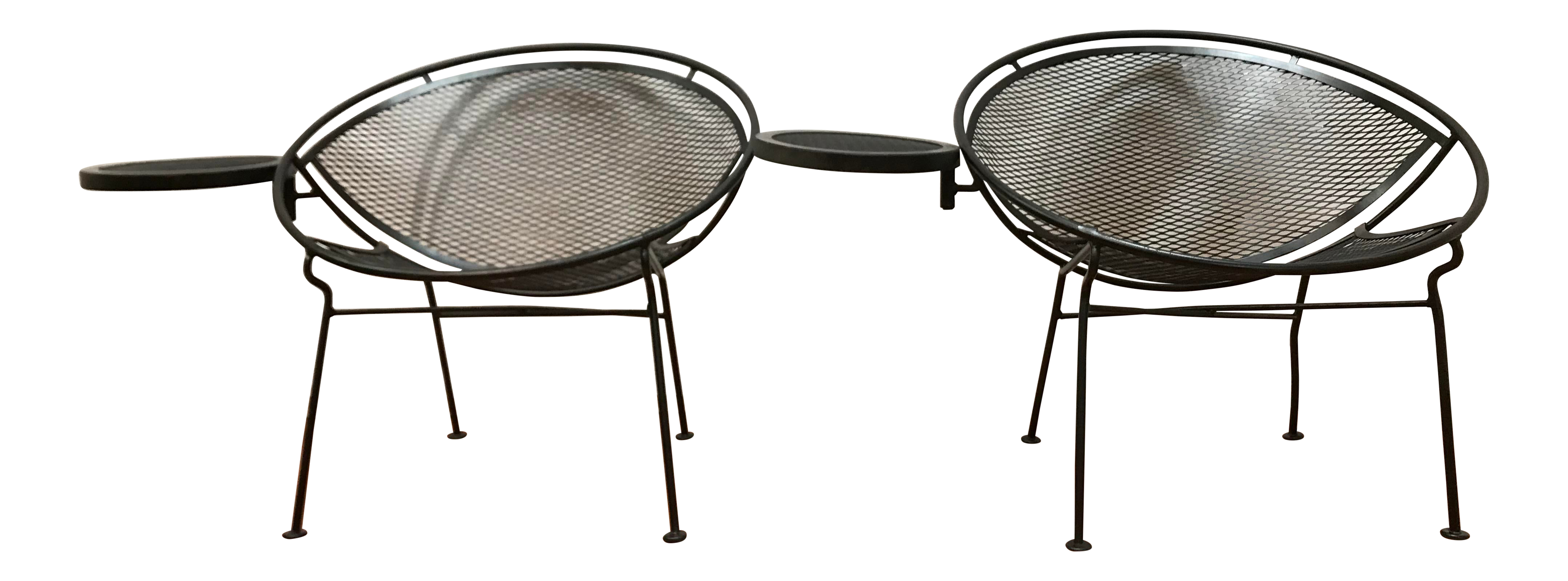 1950s Salterini Tempestini Radar Space Age Mcm Mid Century Modern Wrought Iron Lounge Patio Chairs With Tray Set 4 A Pair Chairish