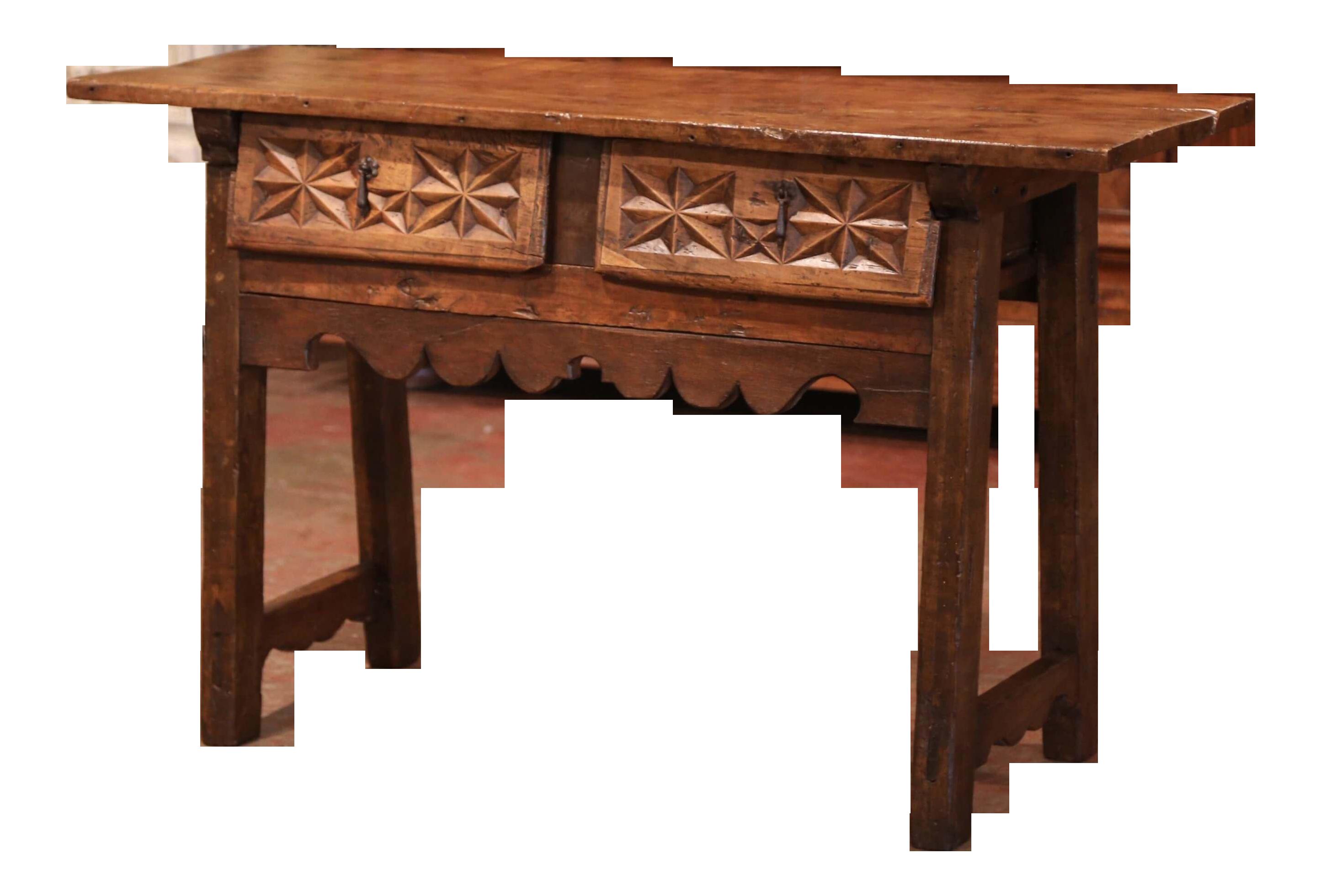 Fine 18Th Century Spanish Carved Walnut Trestle Console Sofa Table With Drawers Creativecarmelina Interior Chair Design Creativecarmelinacom