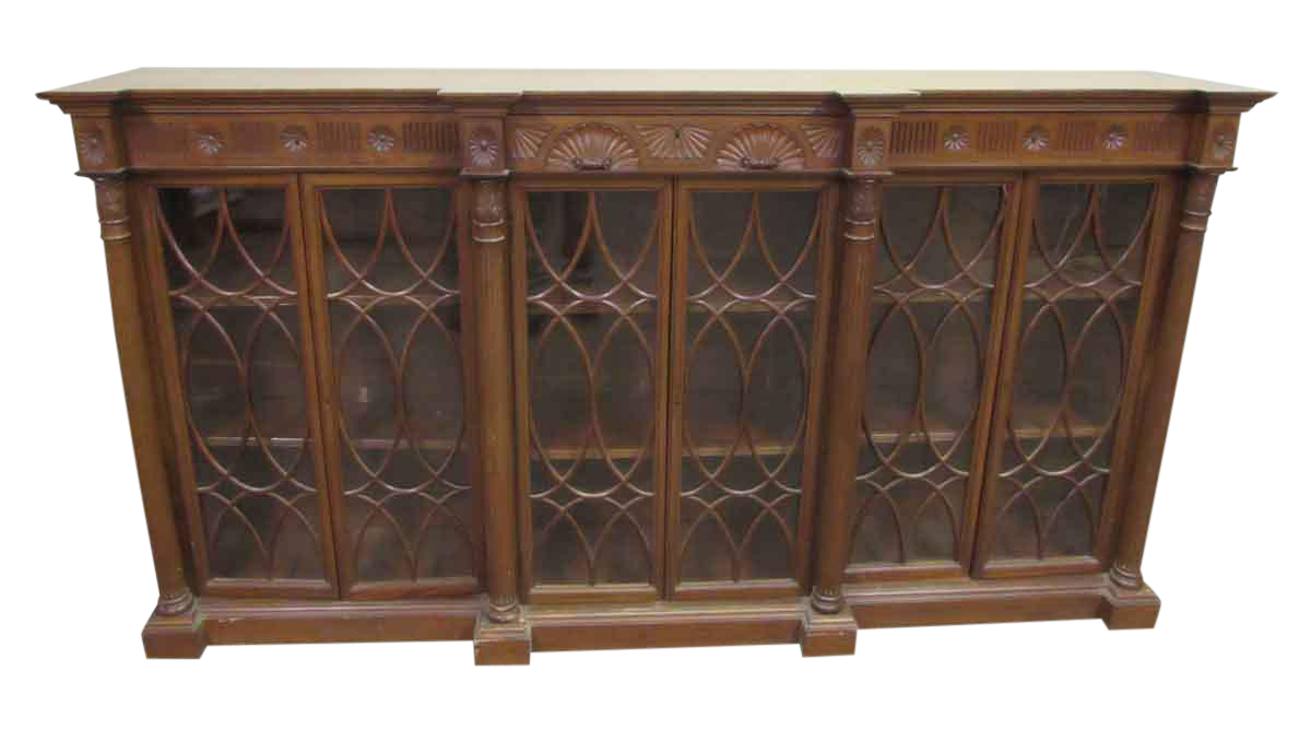 Carved wooden floor cabinet chairish for Carved kitchen cabinets
