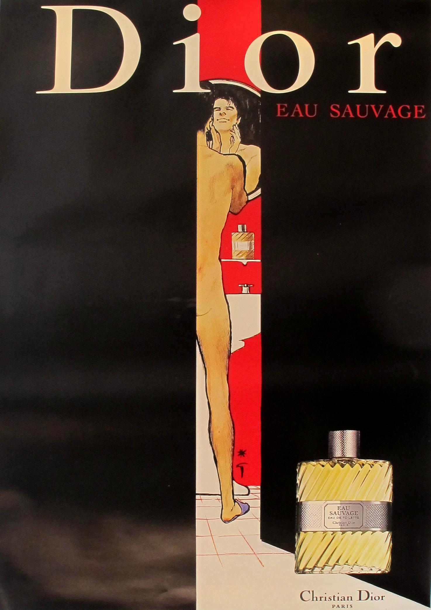 Vintage Christian Dior Eau Sauvage Perfume Poster Chairish