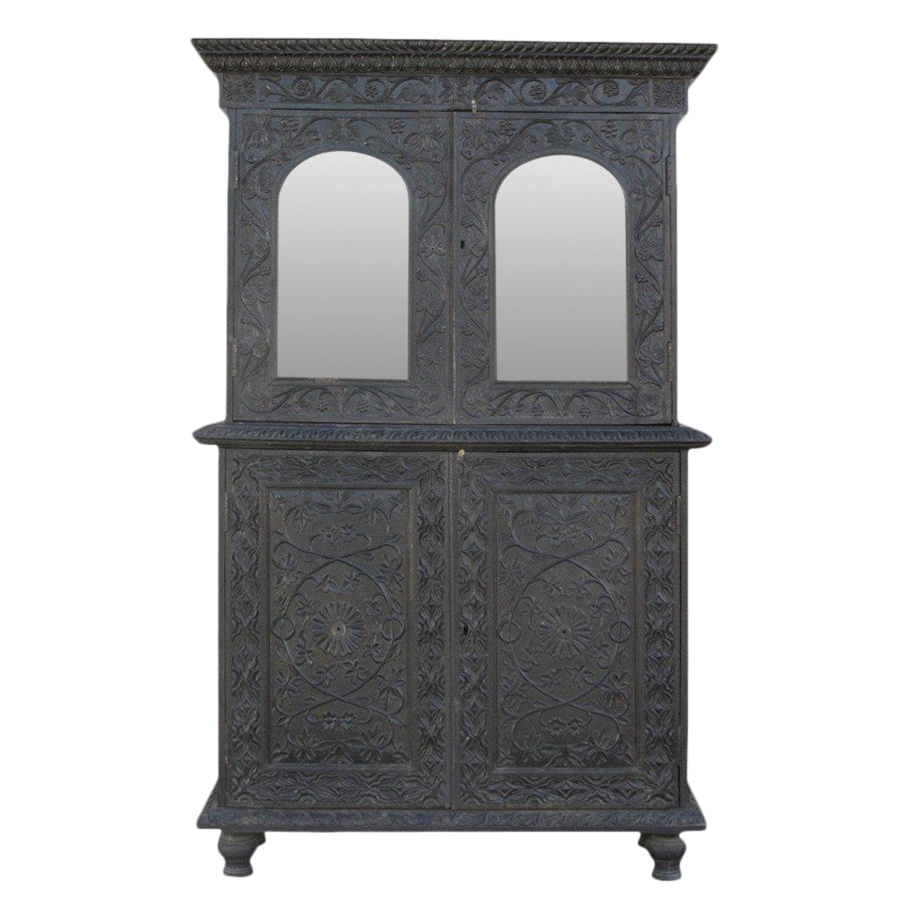 Anglo indian carved indo portuguese cabinet chairish for Carved kitchen cabinets