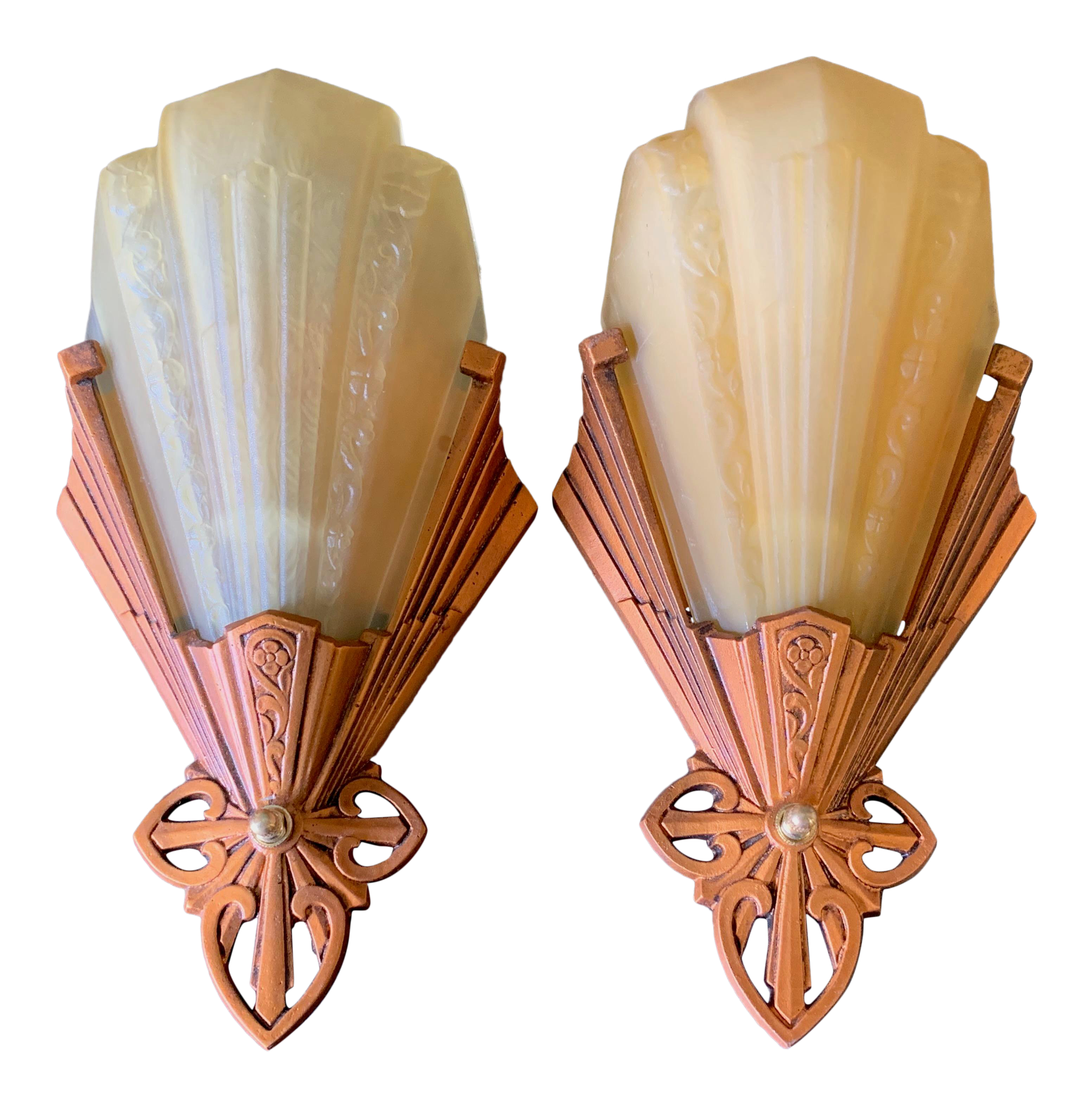 outlet store e1435 448db 1930s Art Deco Wall Sconces - a Pair