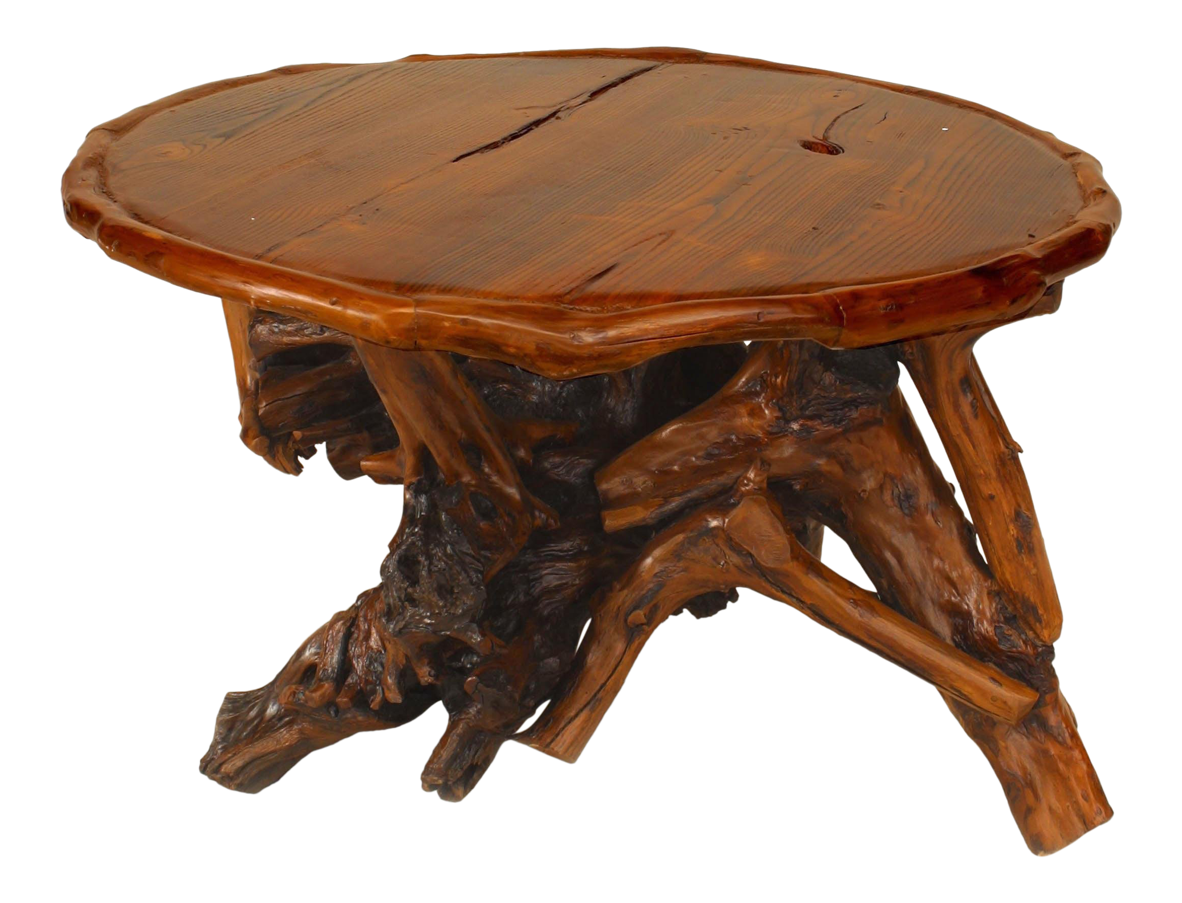 Adirondack Style Coffee Tables With Root Bases