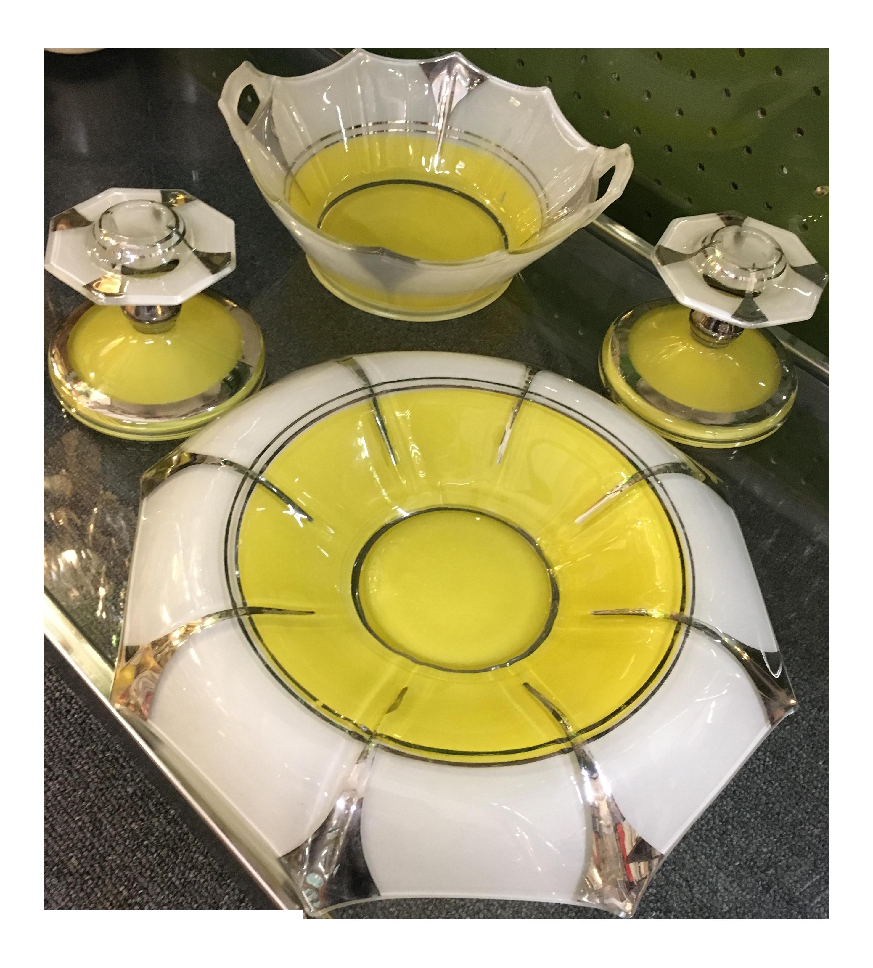 Indiana Glass \'Moderne Classic\' Console Set | Chairish