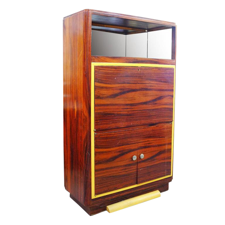 High Style Art Deco Macassar Ebony Vitrine Cabinet With Bar And Secretary Desk Chairish