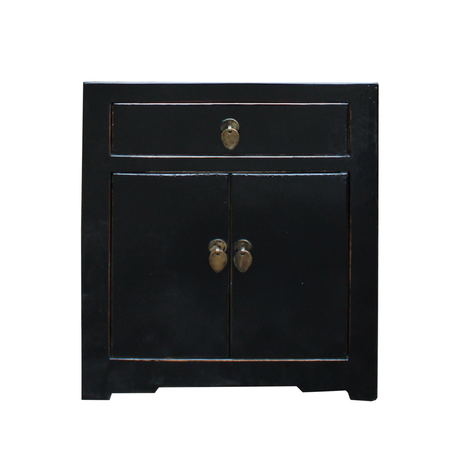 Oriental Distressed Black Lacquer Side End Table Nightstand