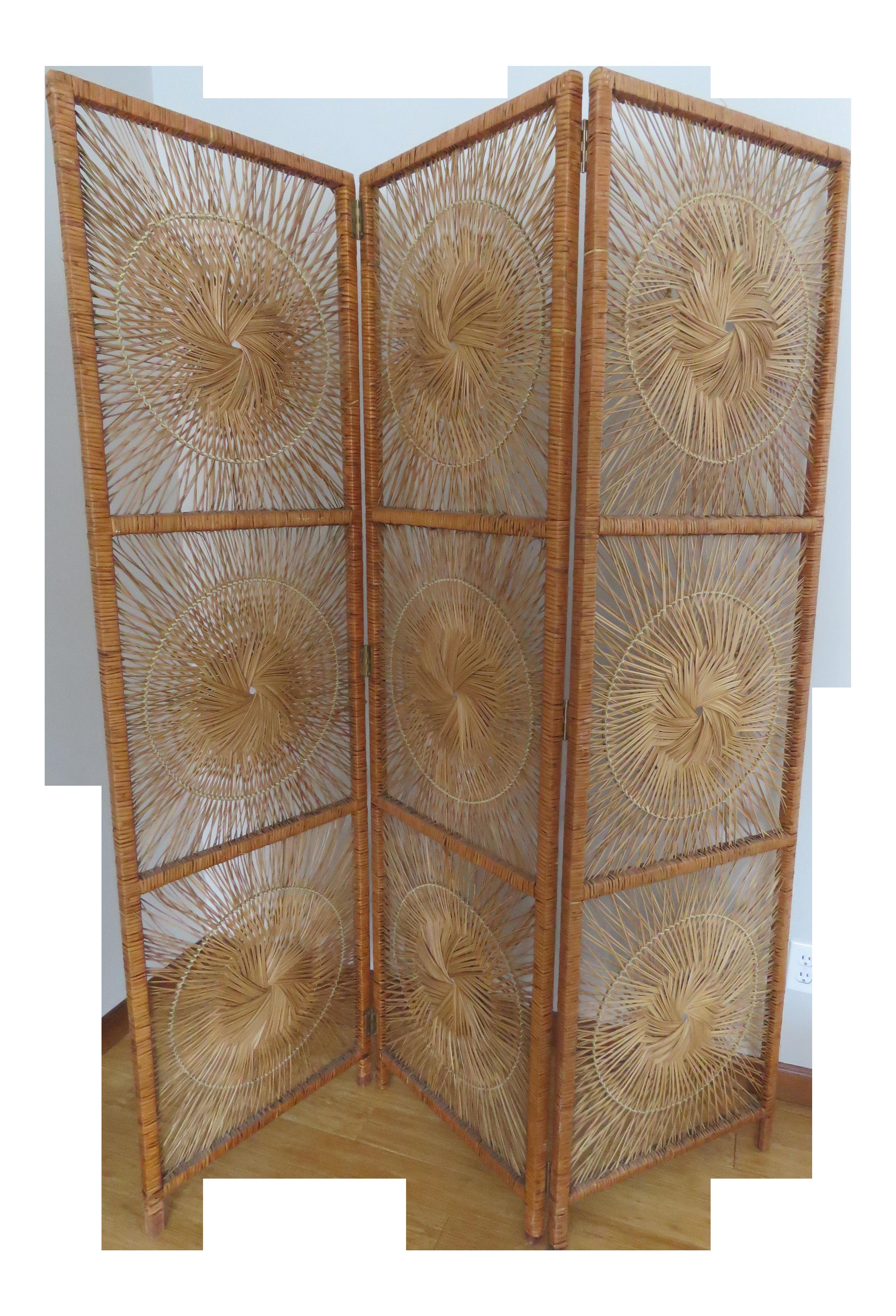 6ee7578fe8ea8 Vintage Wicker Rattan Bohemian Sunburst Room Divider Screen