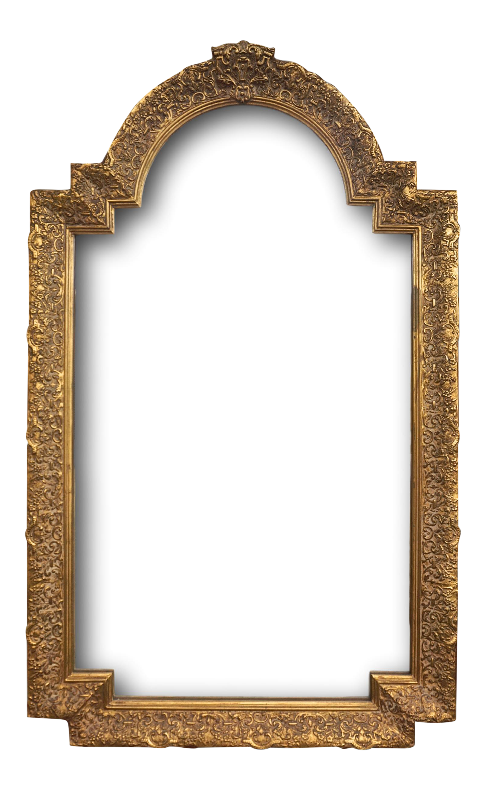 Large Gold Baroque Arched Mirror | Chairish