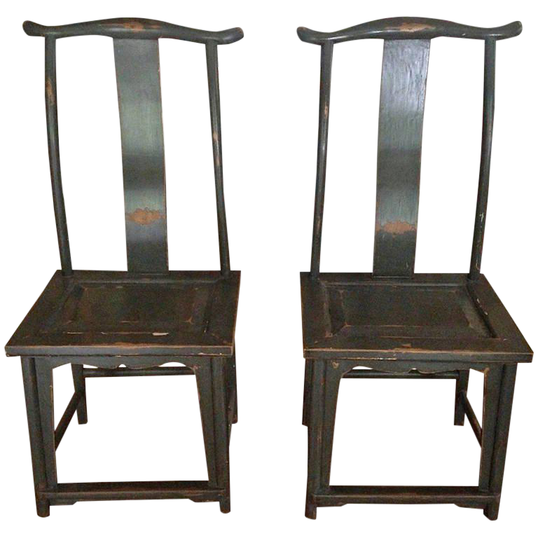 Fine Pair Of Chinese Yoke Back Painted Wood Side Chairs   DECASO