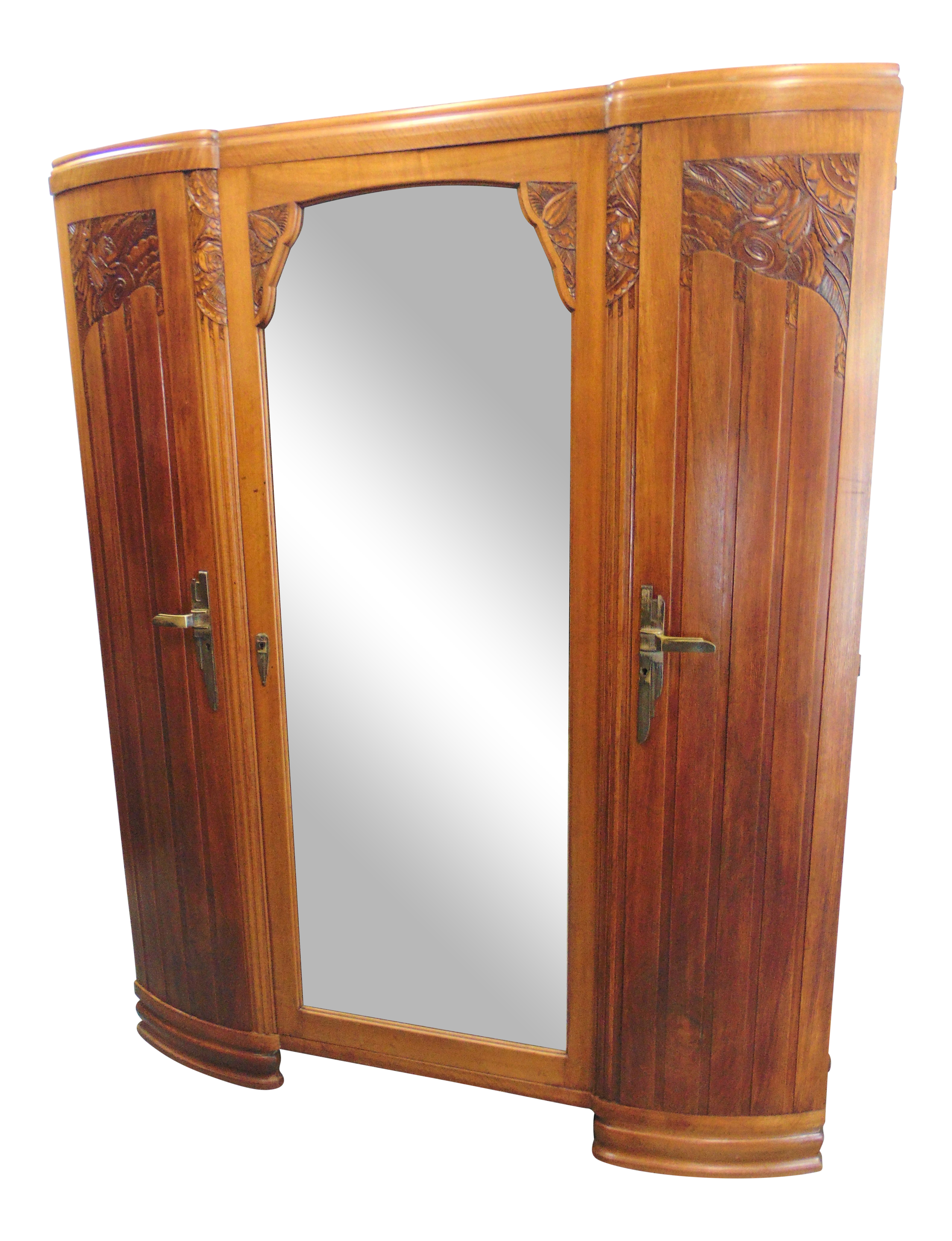 French Art Deco Carved Walnut 3 Door Armoire Chairish