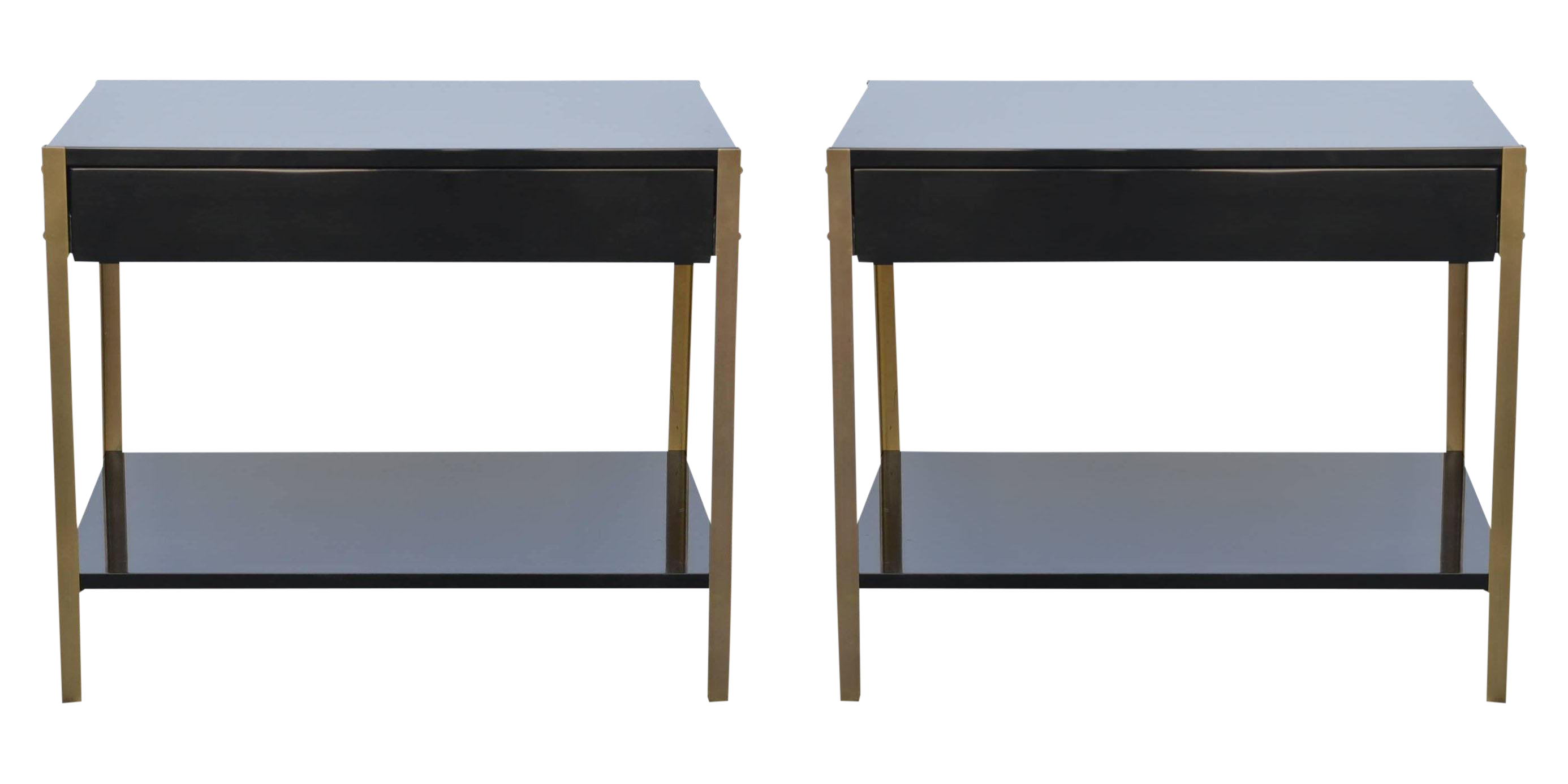 Contemporary Design Freres Laque Black Lacquer And Brass Nightstands A Pair