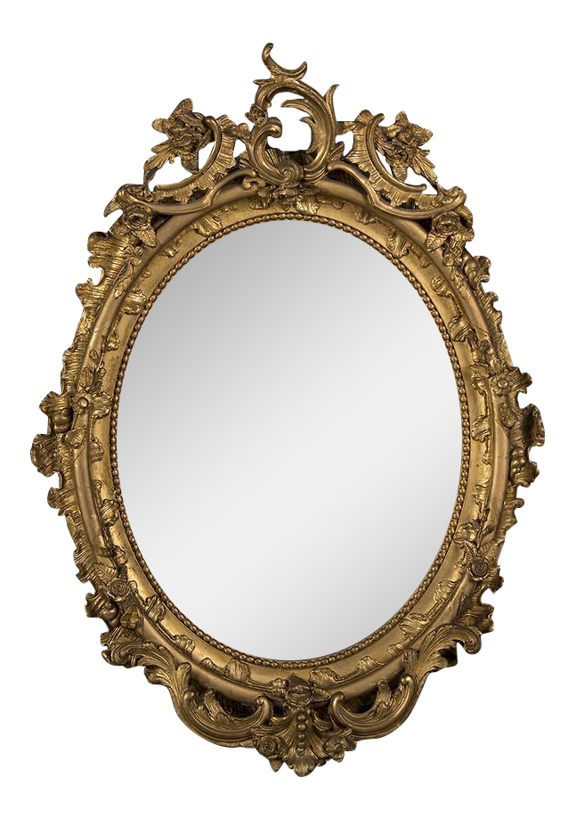Luxury 19th Century Gilded Oval Frame French Mirror | DECASO
