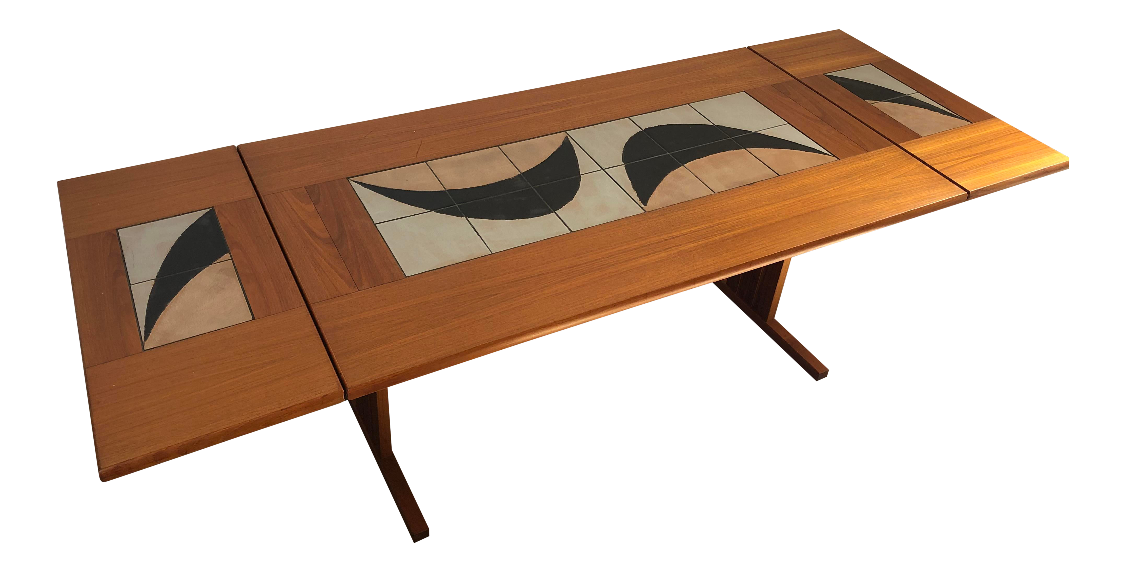 Vintage Mid Century Modern Danish Dining Table With Tile Inlay And 2 Extensions Chairish