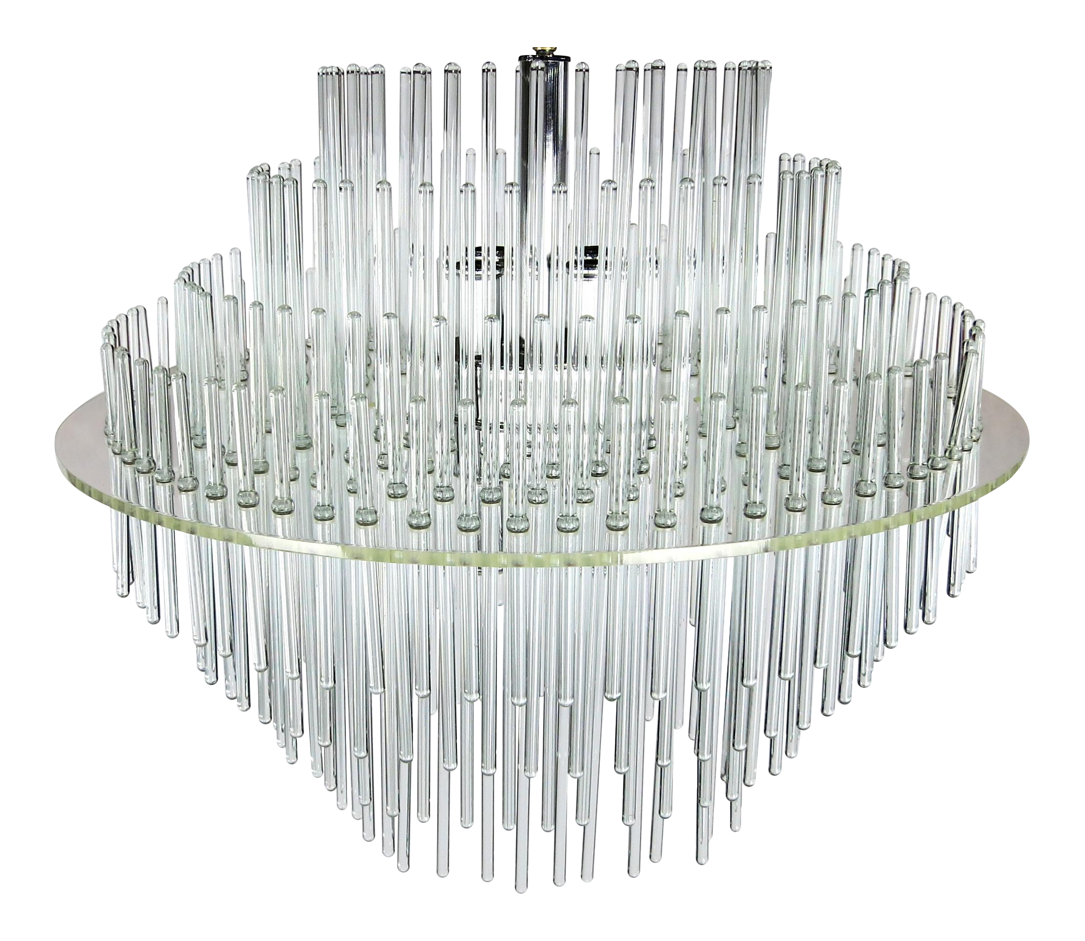 Excellent Lucite and Glass Rod Chandelier by Gaetano Sciolari for