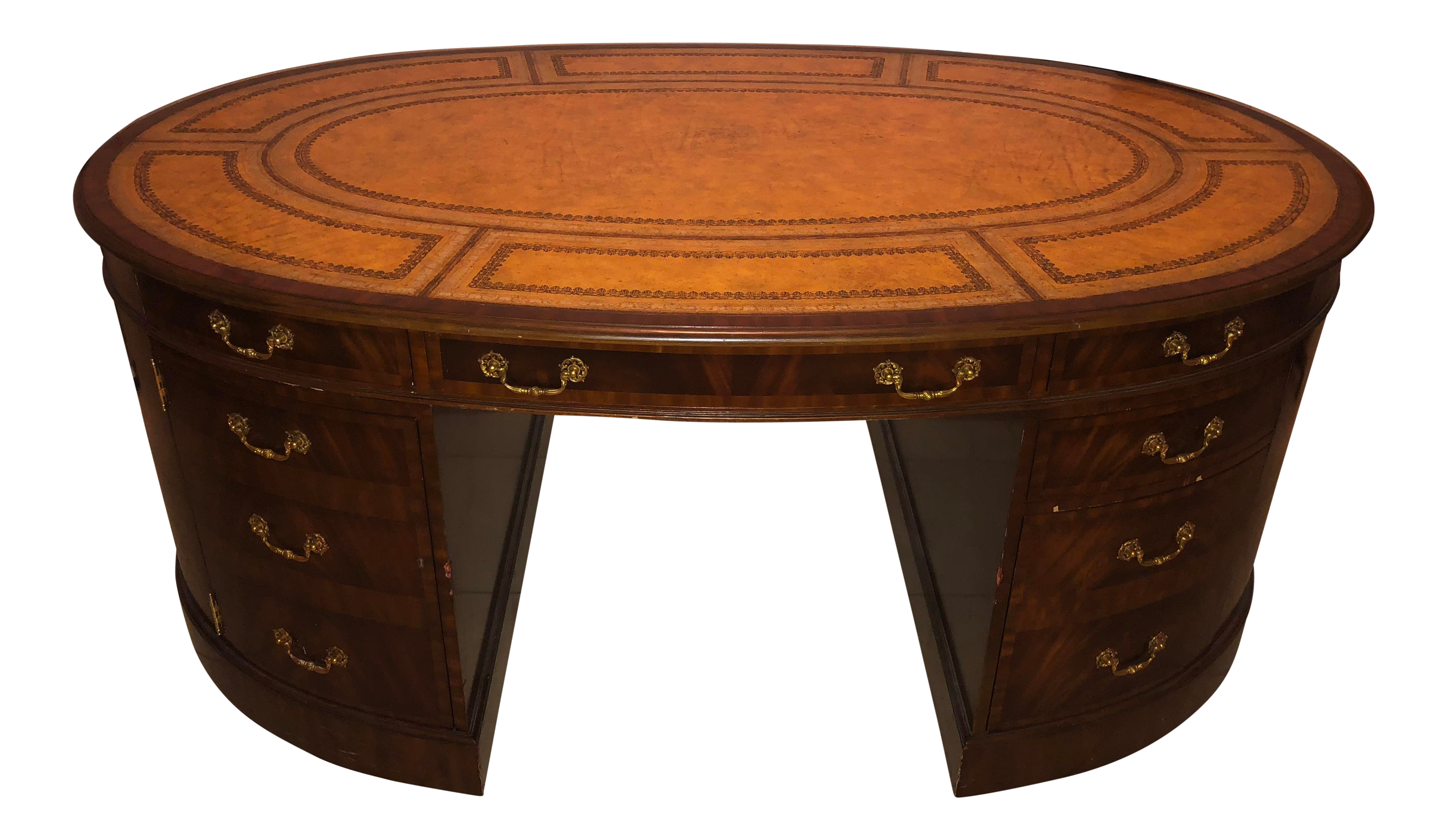 Maitland Smith Walnut Oval Partner Desk With Leather Top