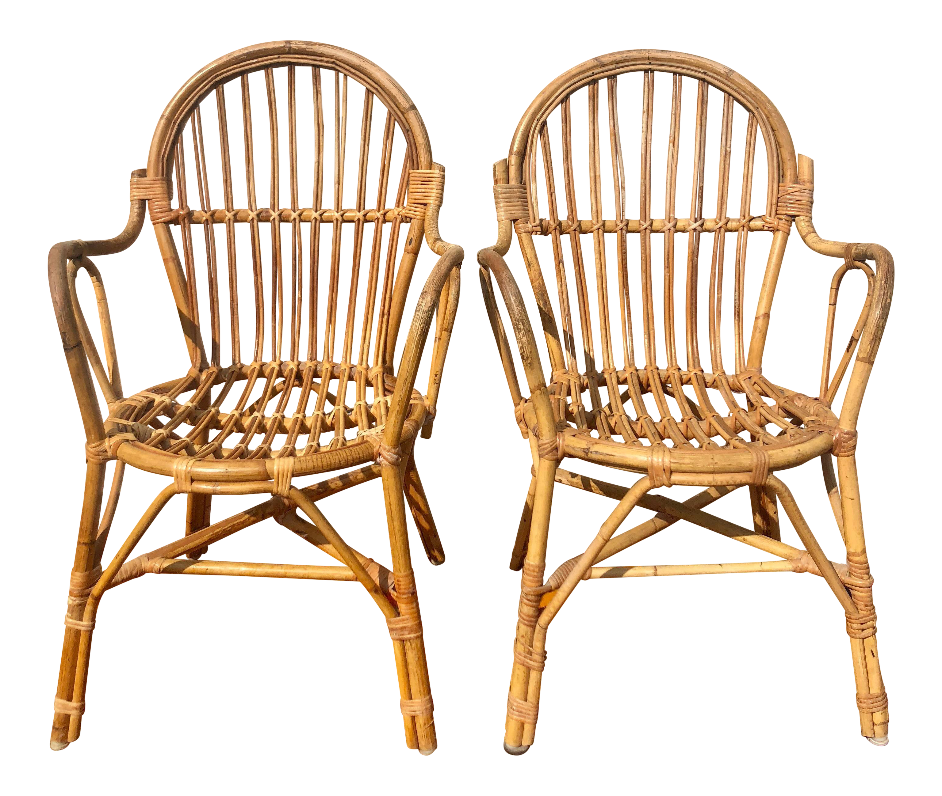 Albini Style Bamboo Rattan Bistro Chairs A Pair