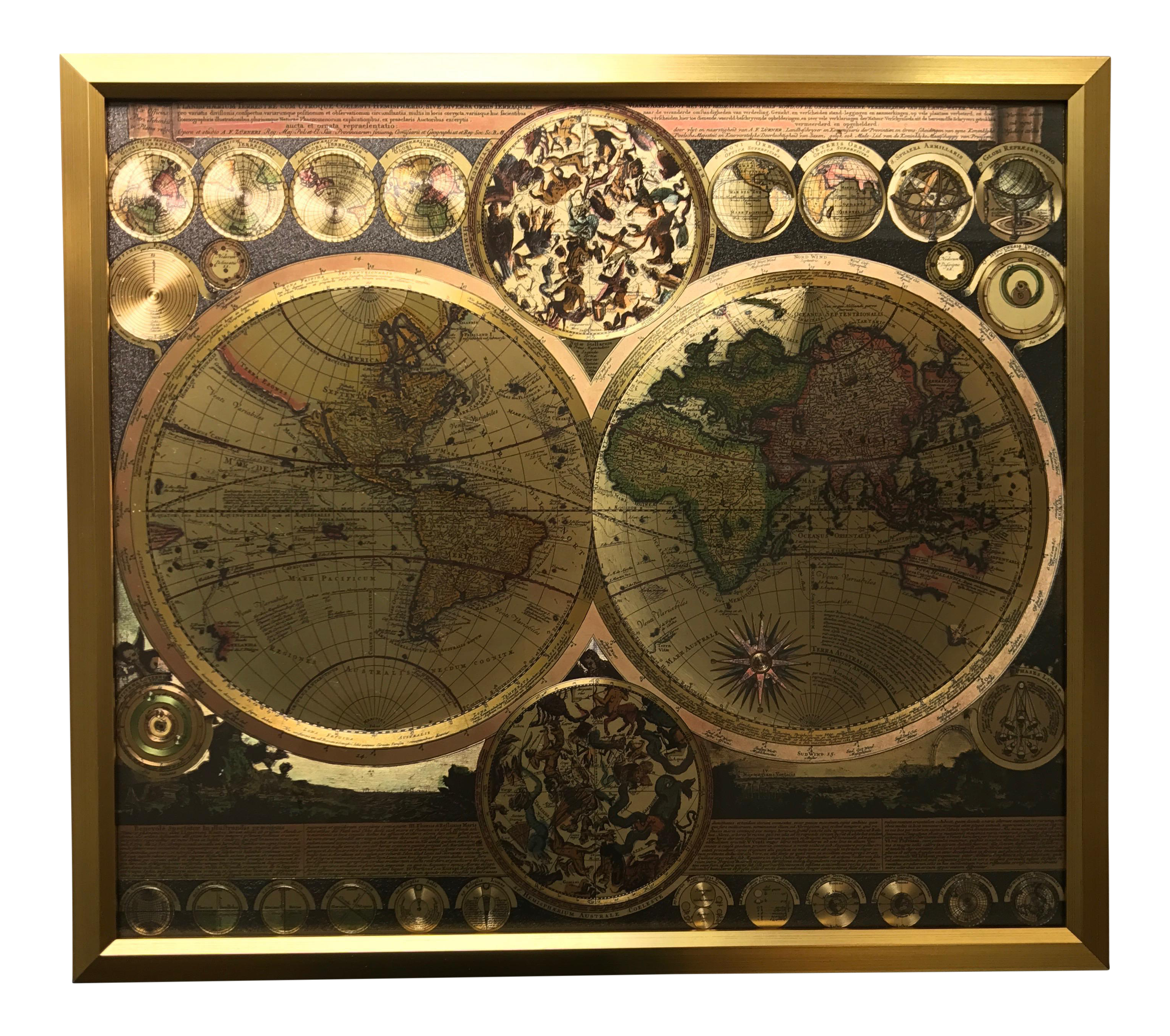 Framed gold foil world map print chairish gumiabroncs Gallery