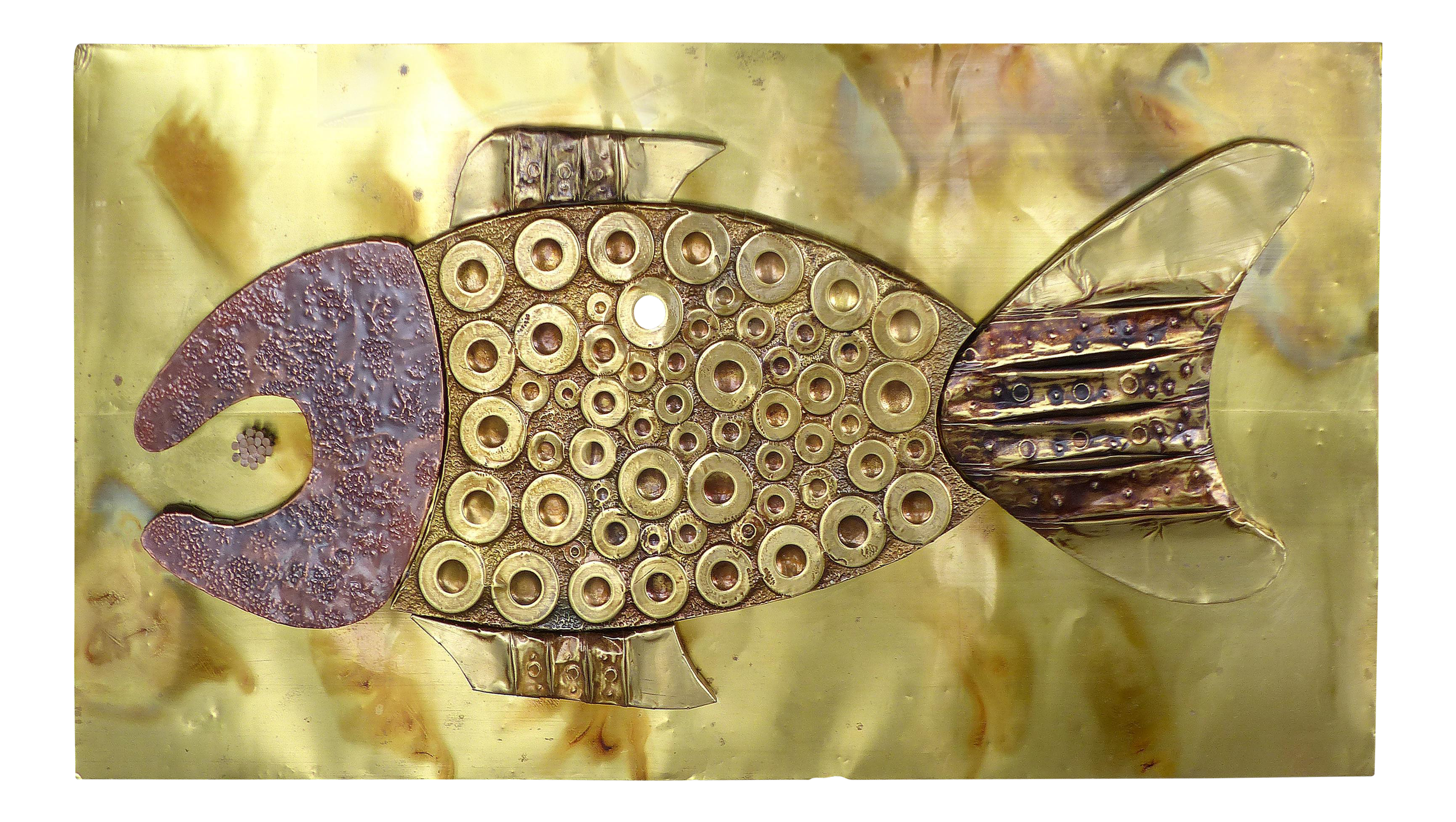 Mid-Century Brass & Copper Fish Wall Sculpture | Chairish