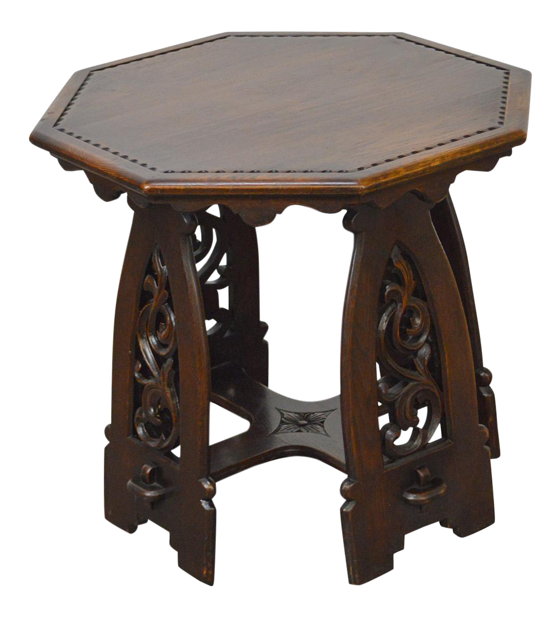 Antique Gothic Oak Rose Valley Inspired Octagon Carved Taboret Side Table    Chairish