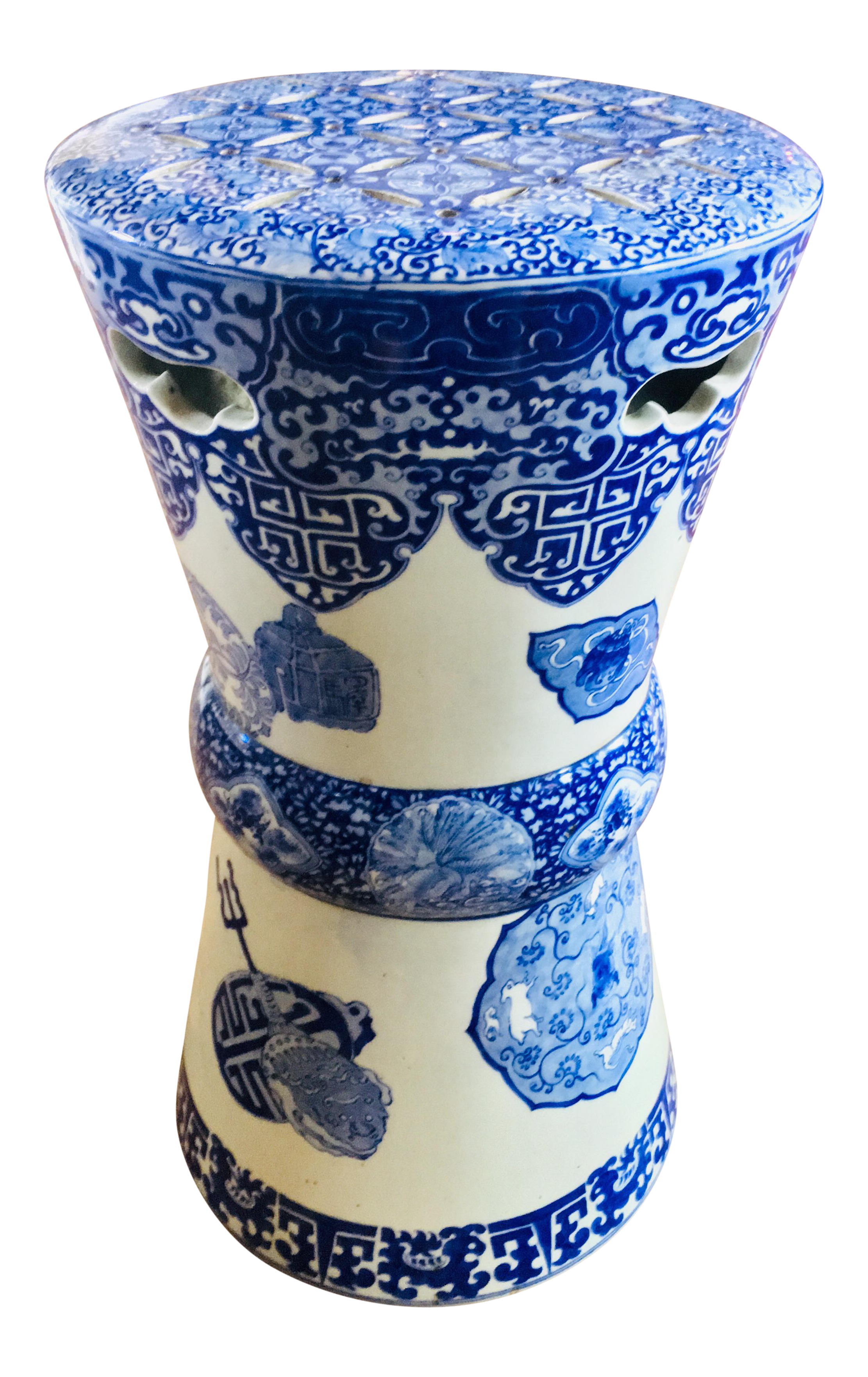 Terrific 19Th Century Antique Glazed Terracotta Japanese Blue White Stand Pabps2019 Chair Design Images Pabps2019Com