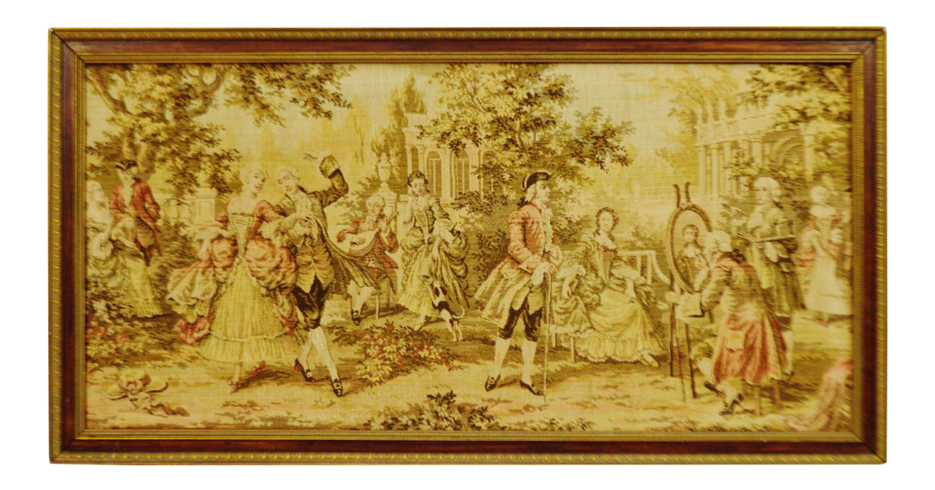 Early Framed Tapestry Wall Art | Chairish