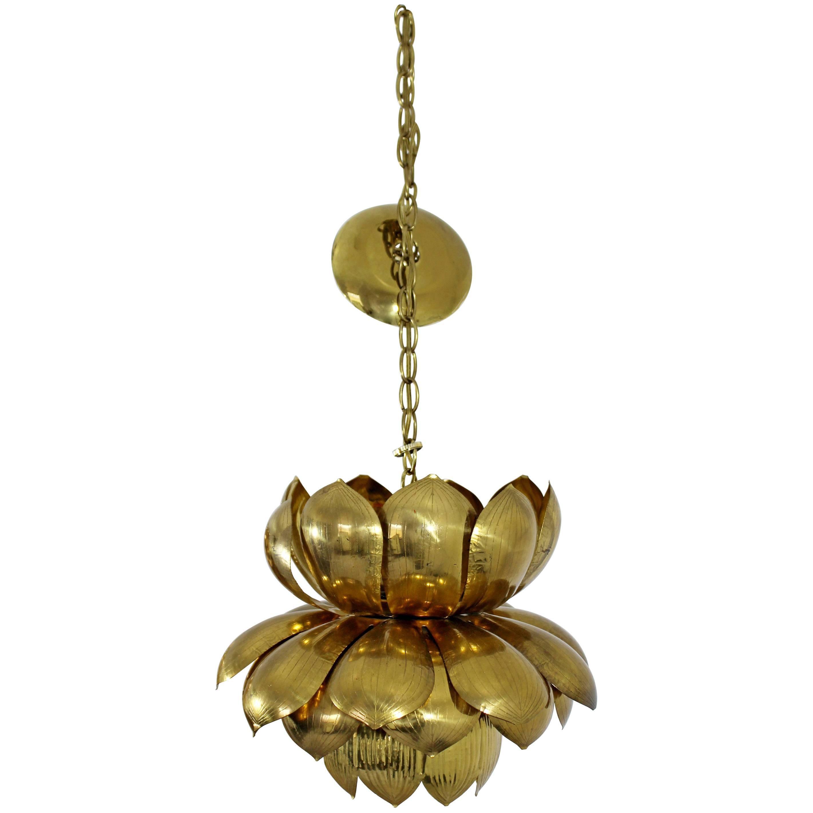 Distinguished Mid Century Modern Feldman Brass Lotus Flower Ceiling