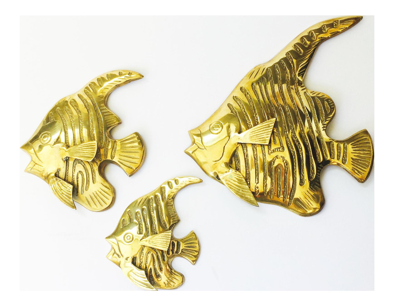 Vintage Brass Angel Fish Wall Hangings - Set of 3 | Chairish