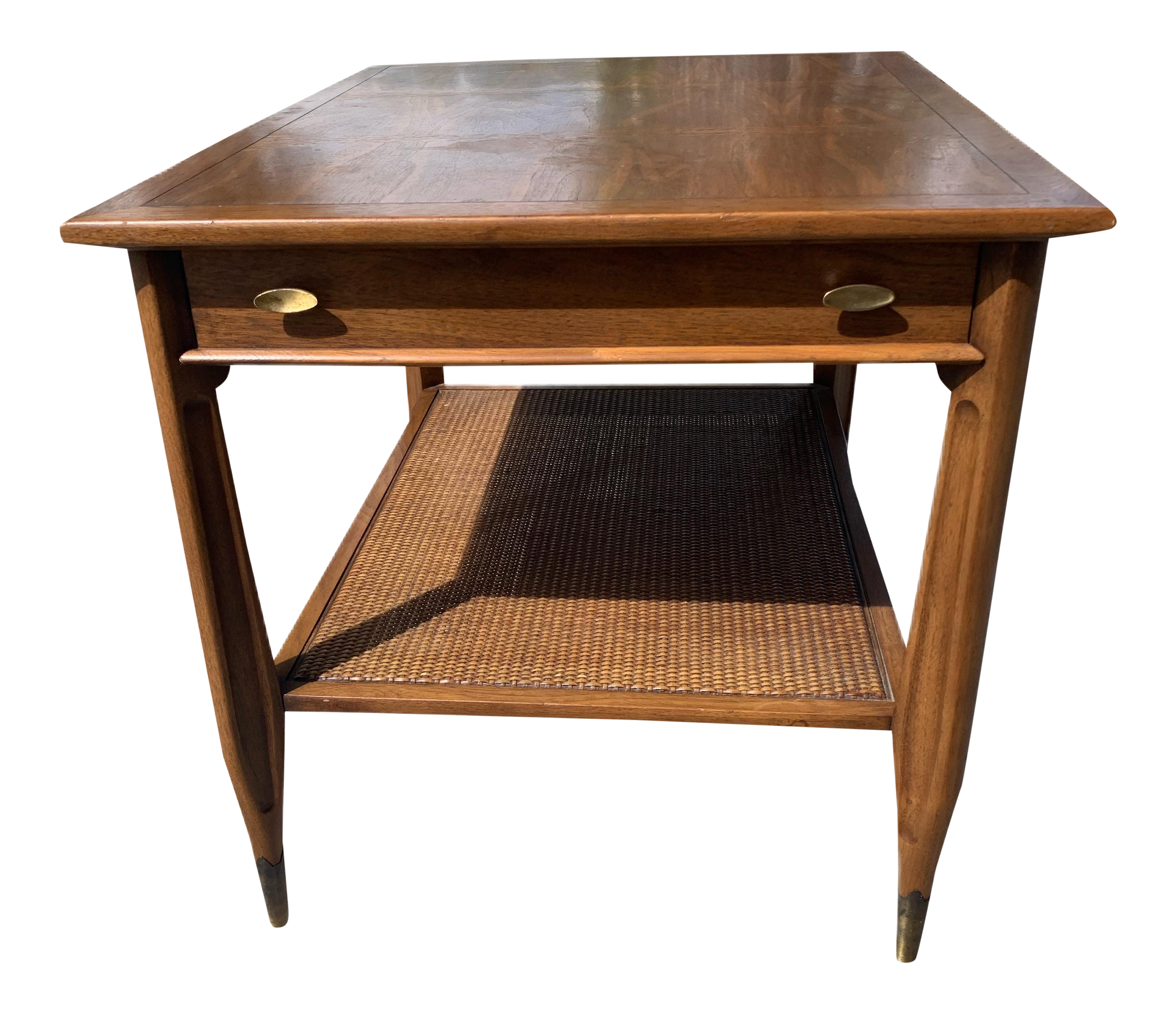 Mid Century Modern End Table With Cane Shelf Chairish