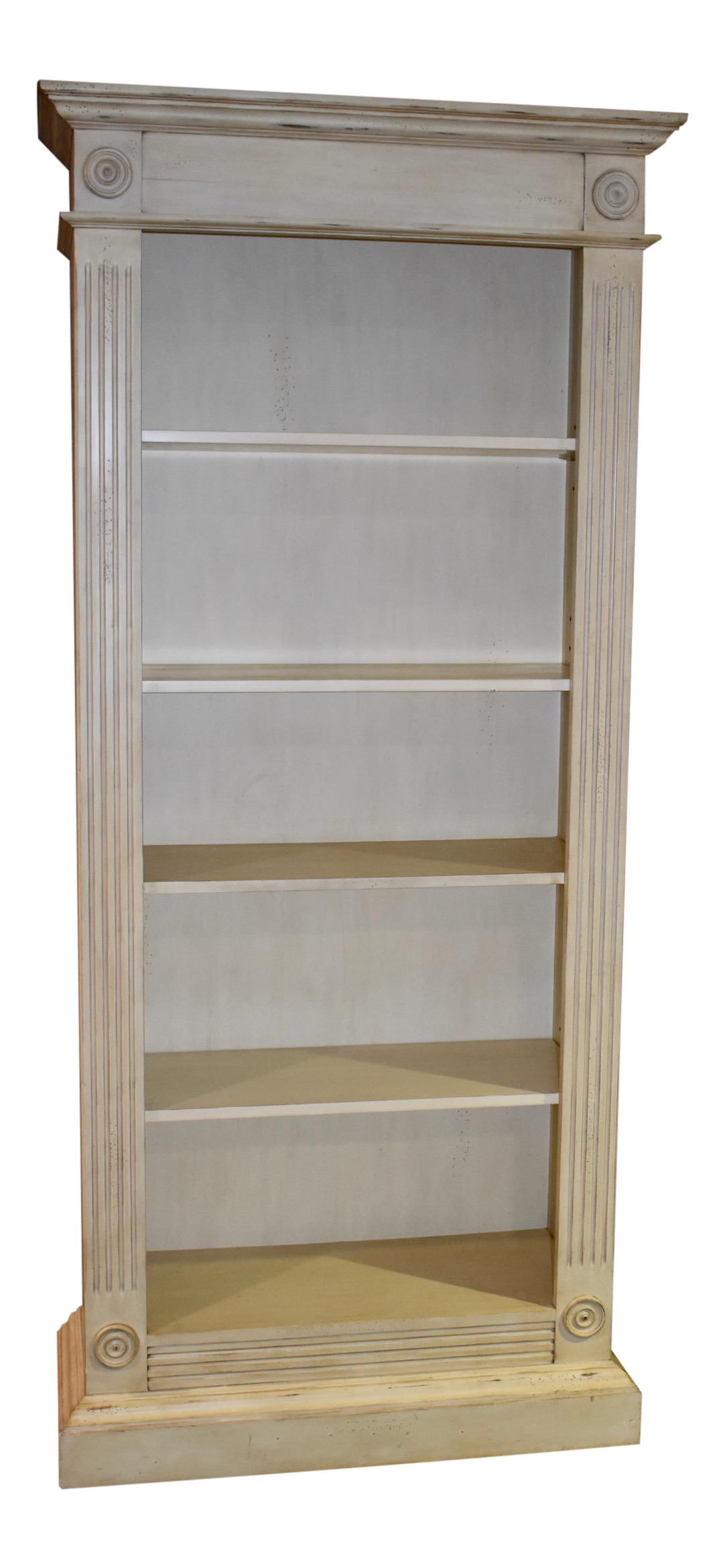 1980s Cottage Style Four Shelf Distressed Bookcase