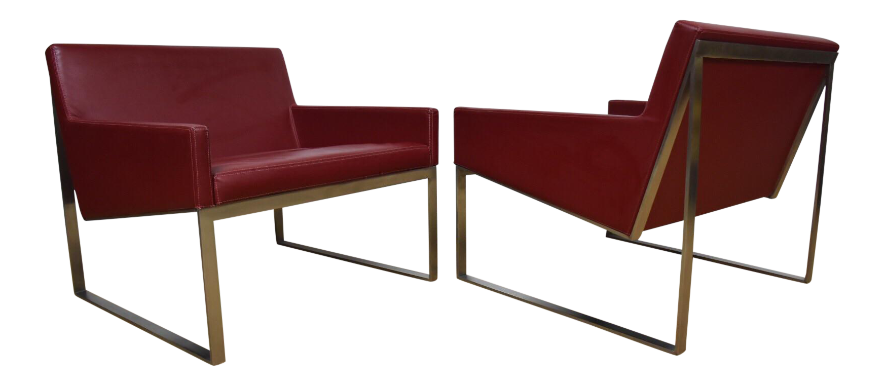 Bernhardt red leather lounge chairs a pair chairish for Bernhardt chaise lounge