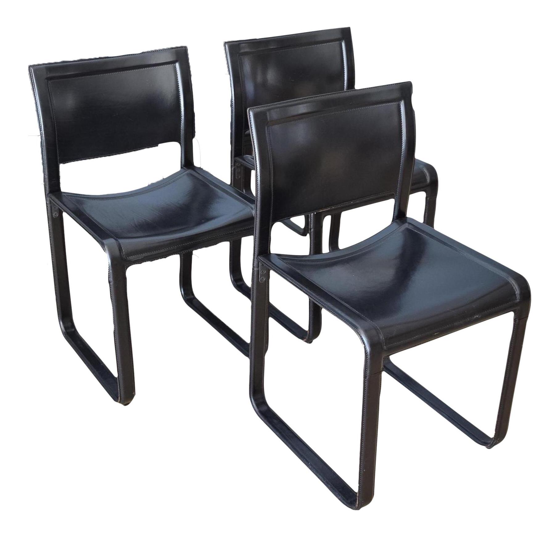 Merveilleux Matteo Grassi Sistina Strap Black Leather Dining Chairs   Set Of 3 |  Chairish