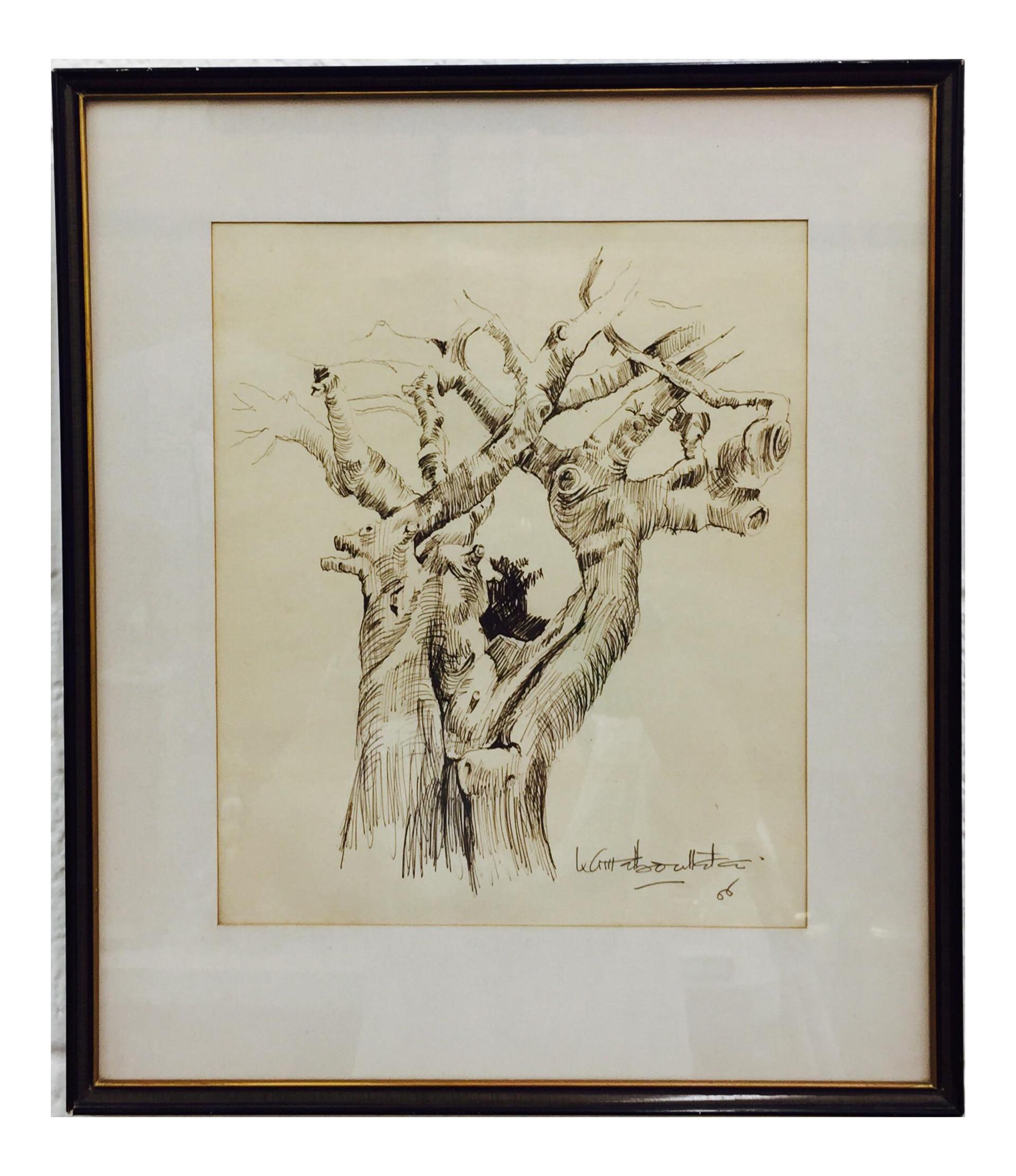 Black Gold Framed Tree Sketching Chairish