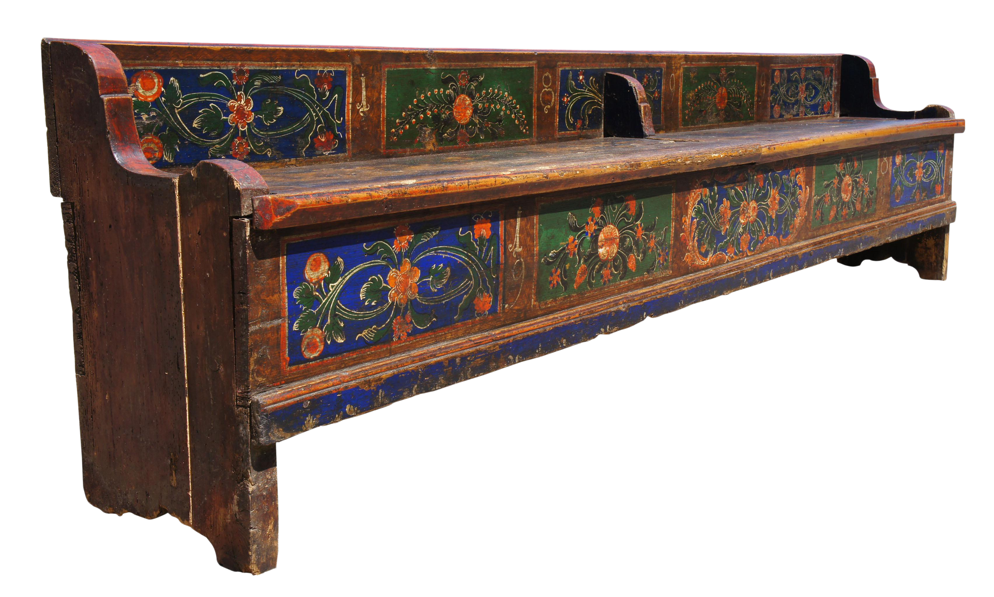 Pleasing 1899 Antique Hungarian Folk Art Pine Storage Bench Hand Painted Seat Evergreenethics Interior Chair Design Evergreenethicsorg