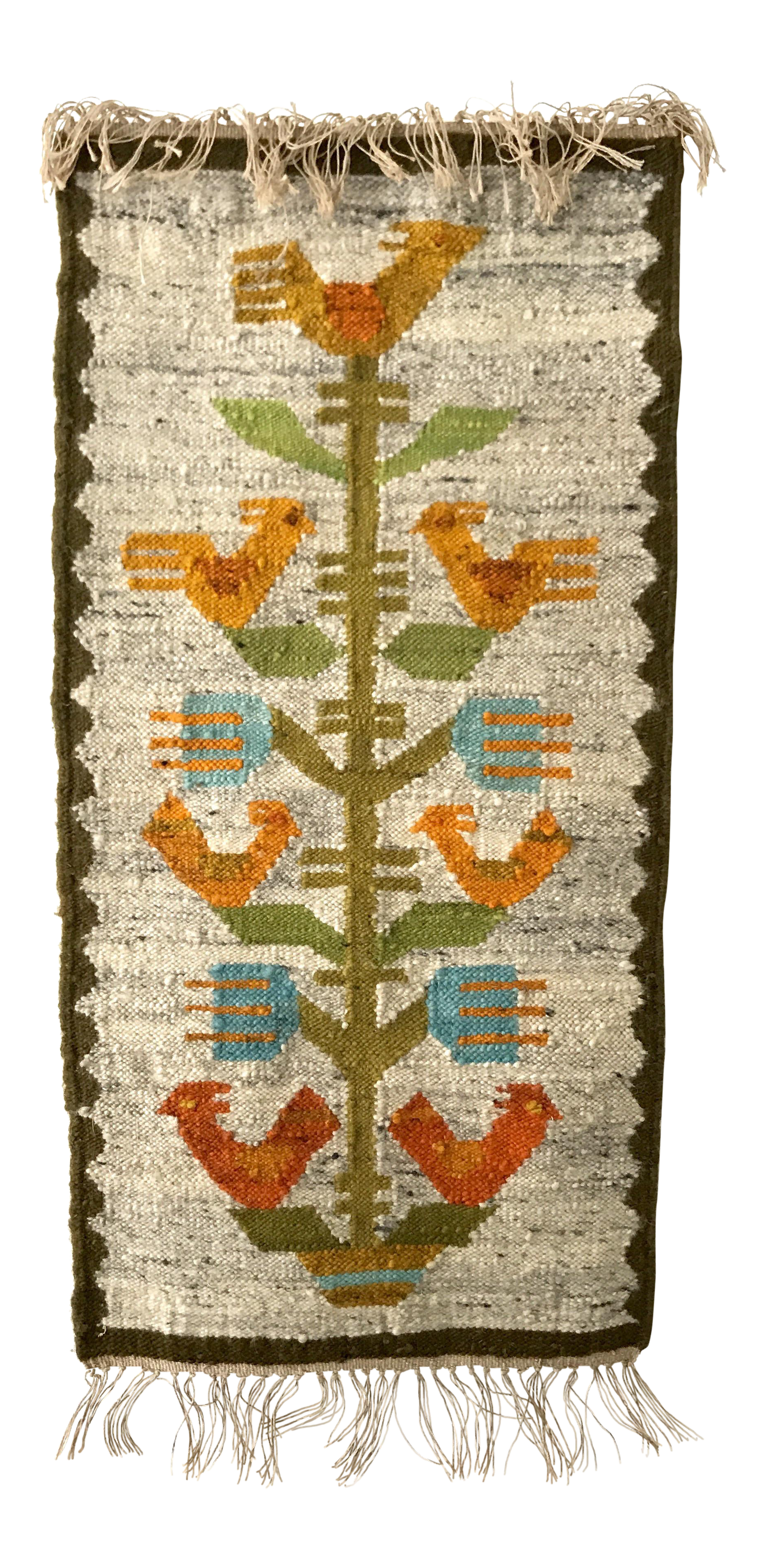 Vintage Handwoven Polish Kilim Wall Tapestry | Chairish