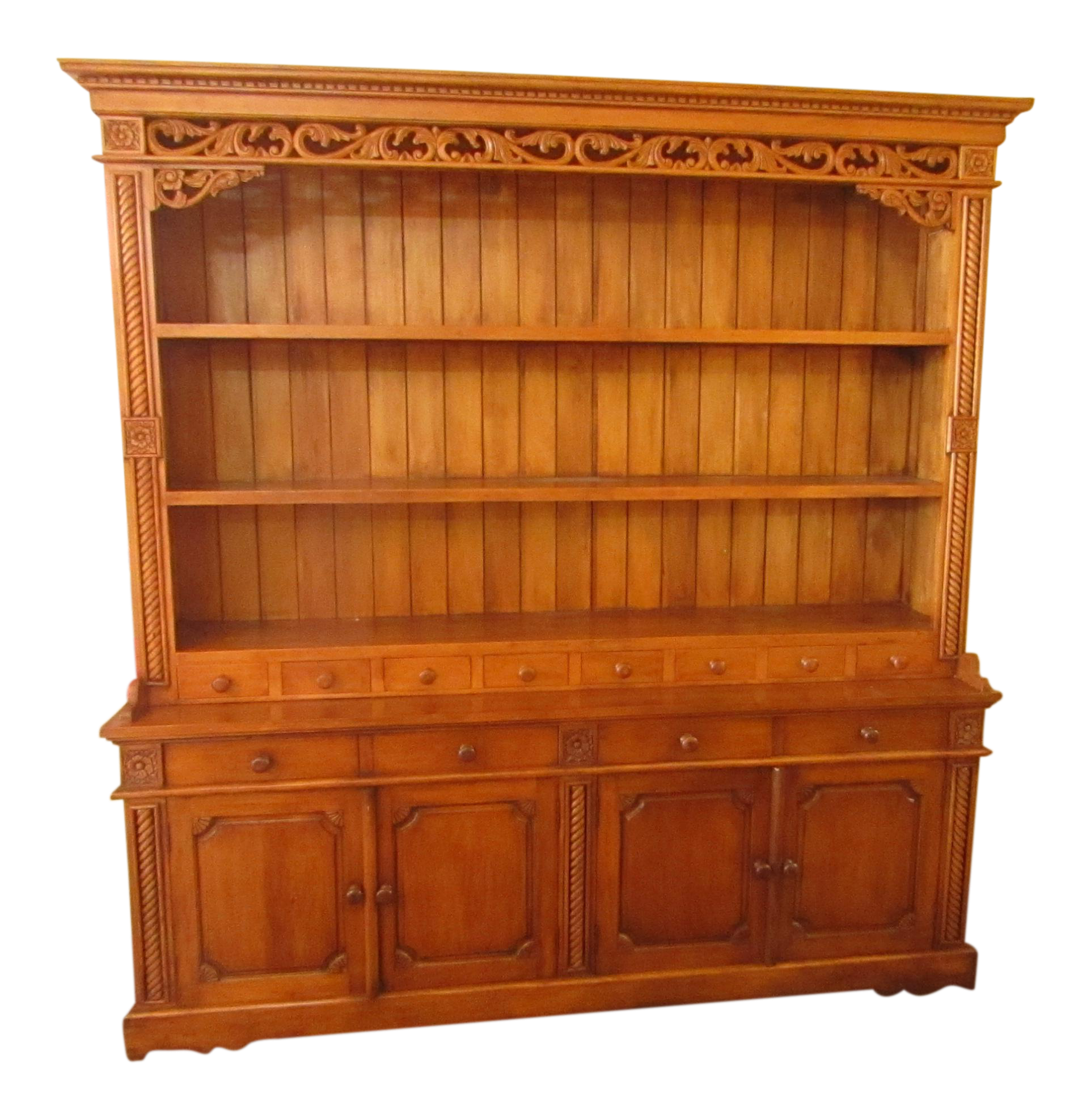 Carved pine cabinet hutch chairish for Carved kitchen cabinets