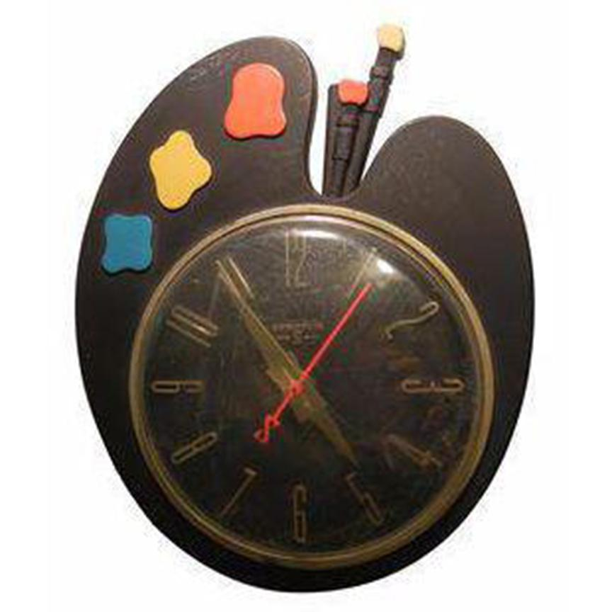 Art deco paint palette clock chairish for Kitchen cabinet trends 2018 combined with wall clock art deco
