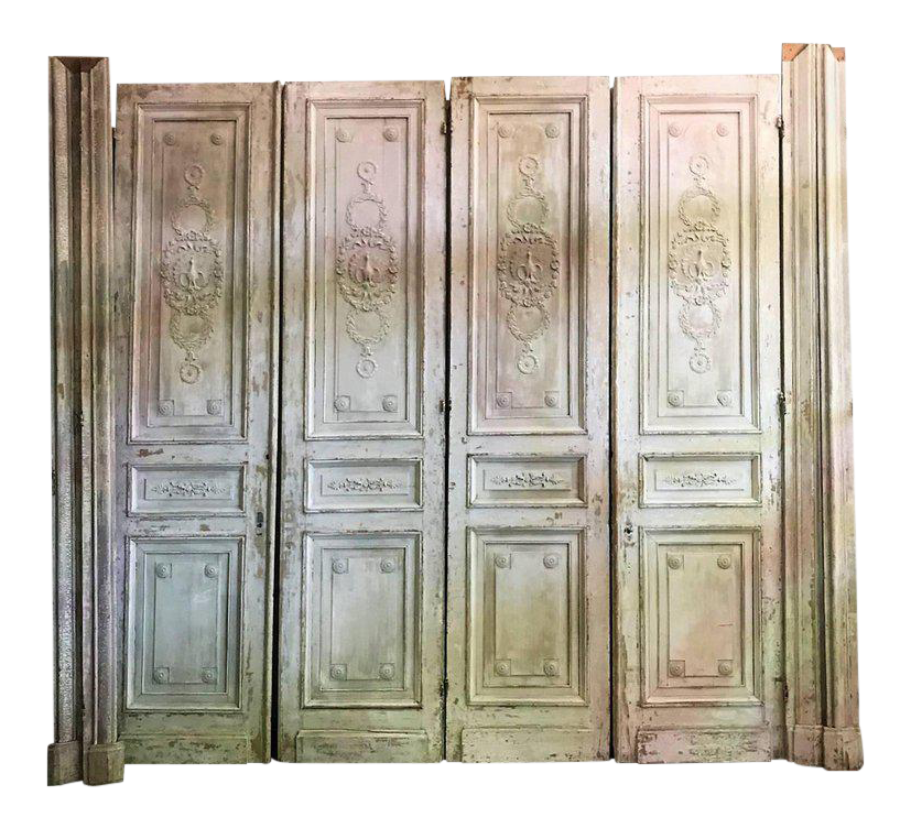 High end antique french carved architectural wood doors for High end french doors