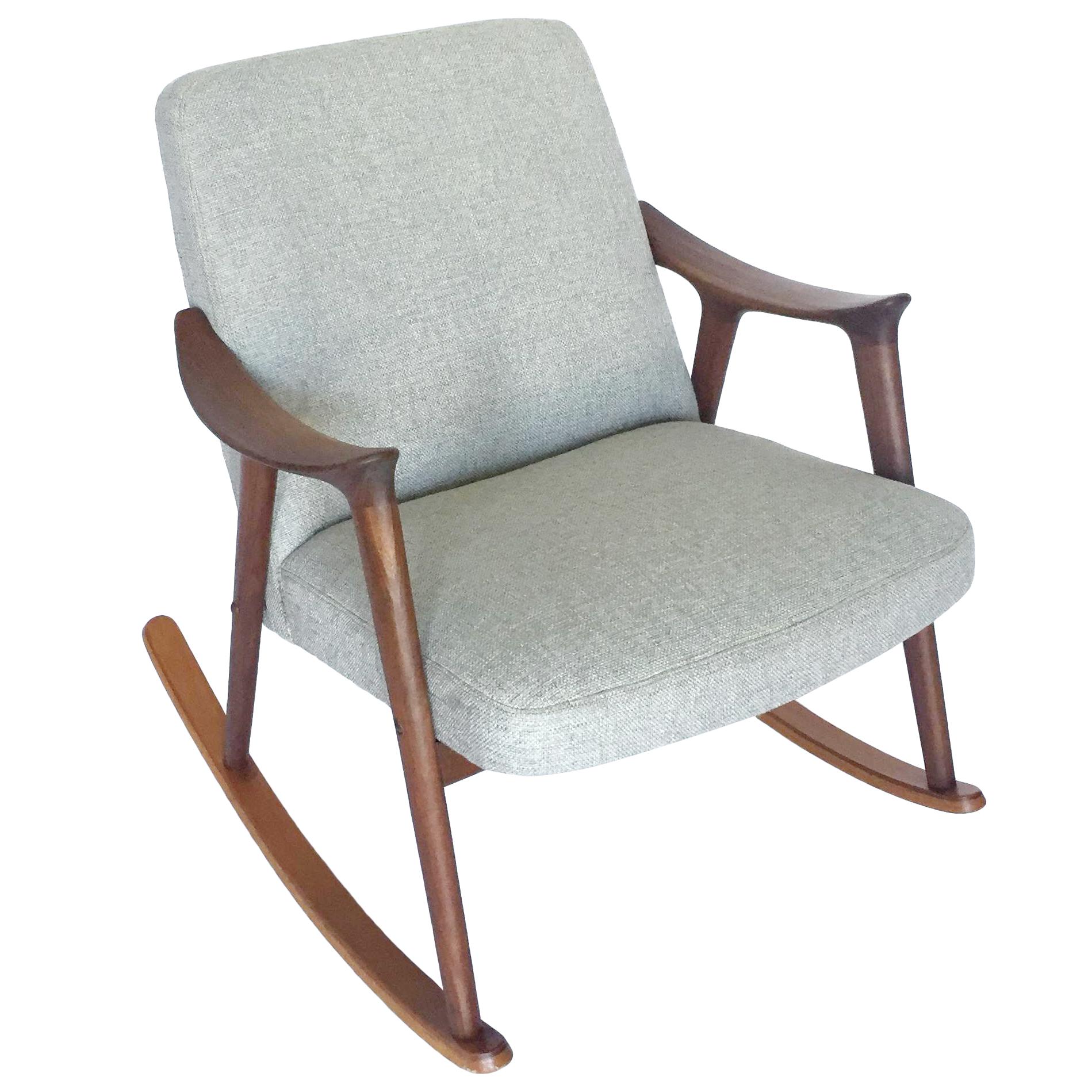 fabric upholstered century waldmann mid rocking modern grey studio chair baxton