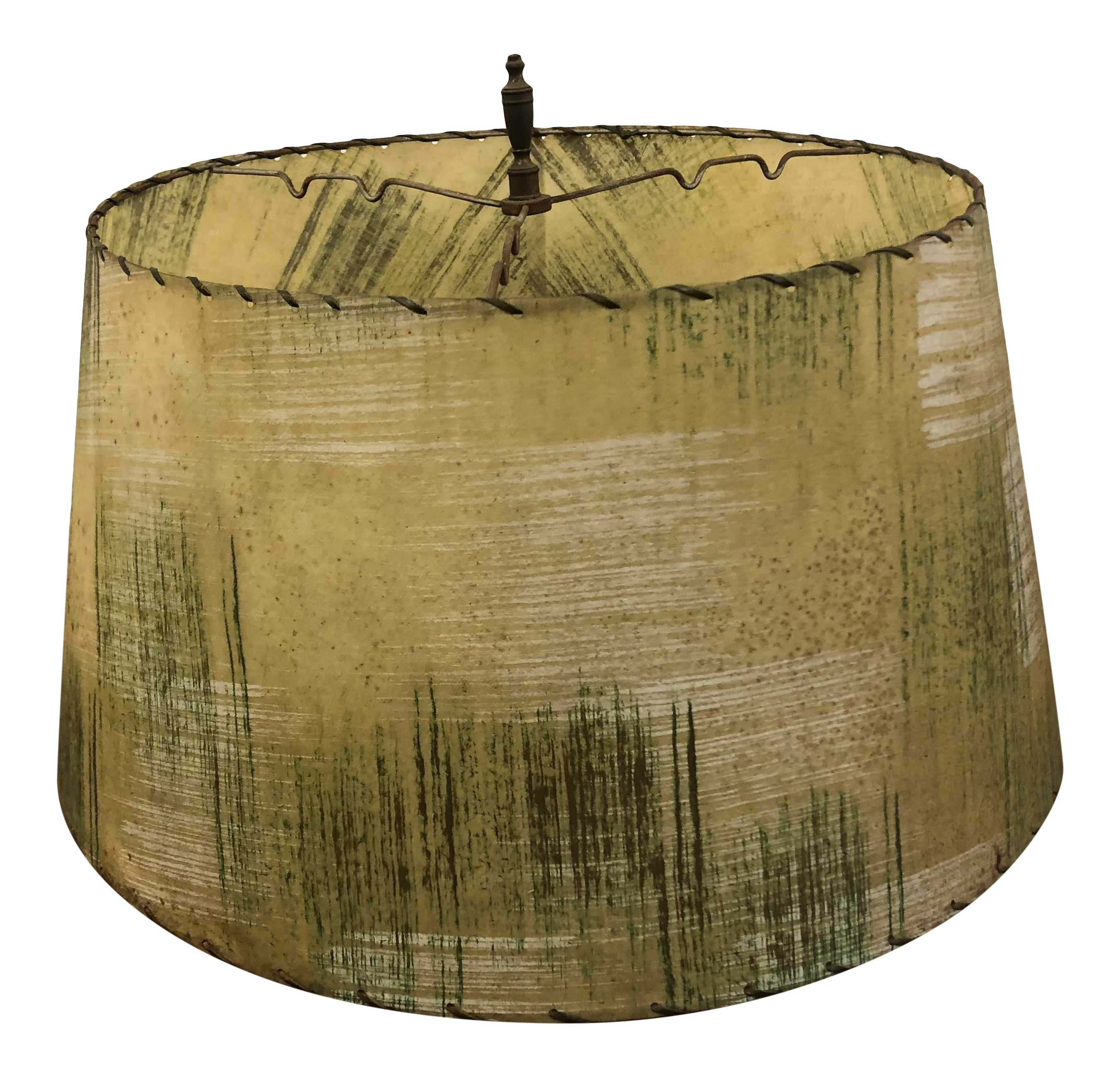 Picture of: Vintage Mid Century Modern Beige Fiberglass Lamp Shade With Green Accents Chairish