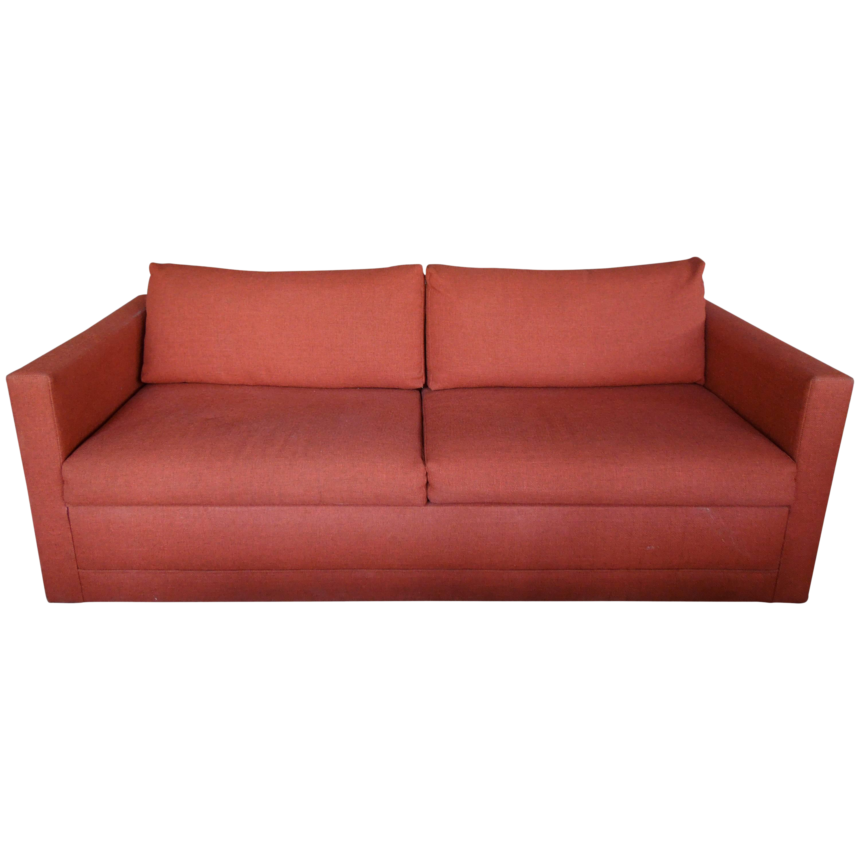 Strange 1970S Architectural Modern Rust Color Tweed Sofa Bed Chairish Onthecornerstone Fun Painted Chair Ideas Images Onthecornerstoneorg