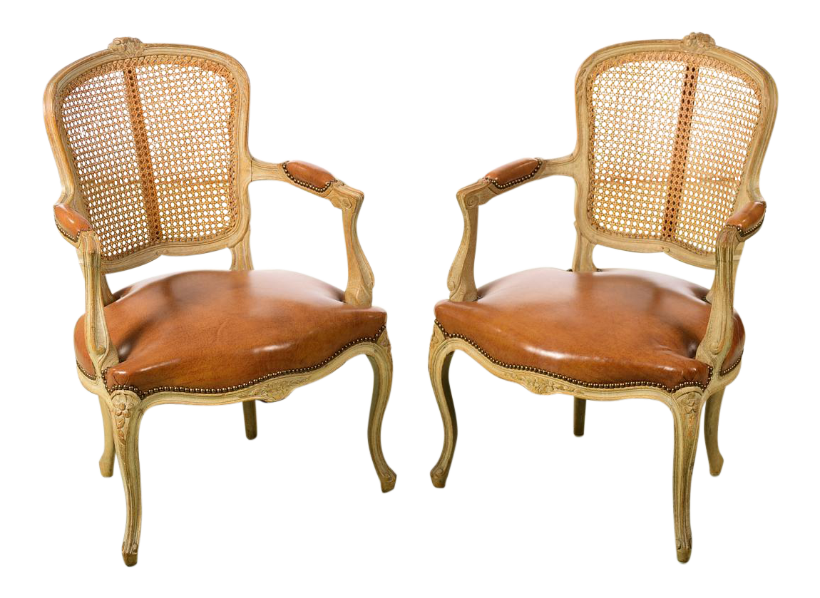 Superb Luxury Louis XV Style Cane Back Fauteuil Chairs W/Beautiful Leather Seats   A Pair | DECASO