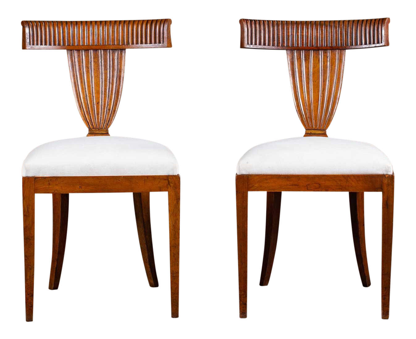Superb Antique 1890s Italian Empire Walnut Neoclassical Chairs A