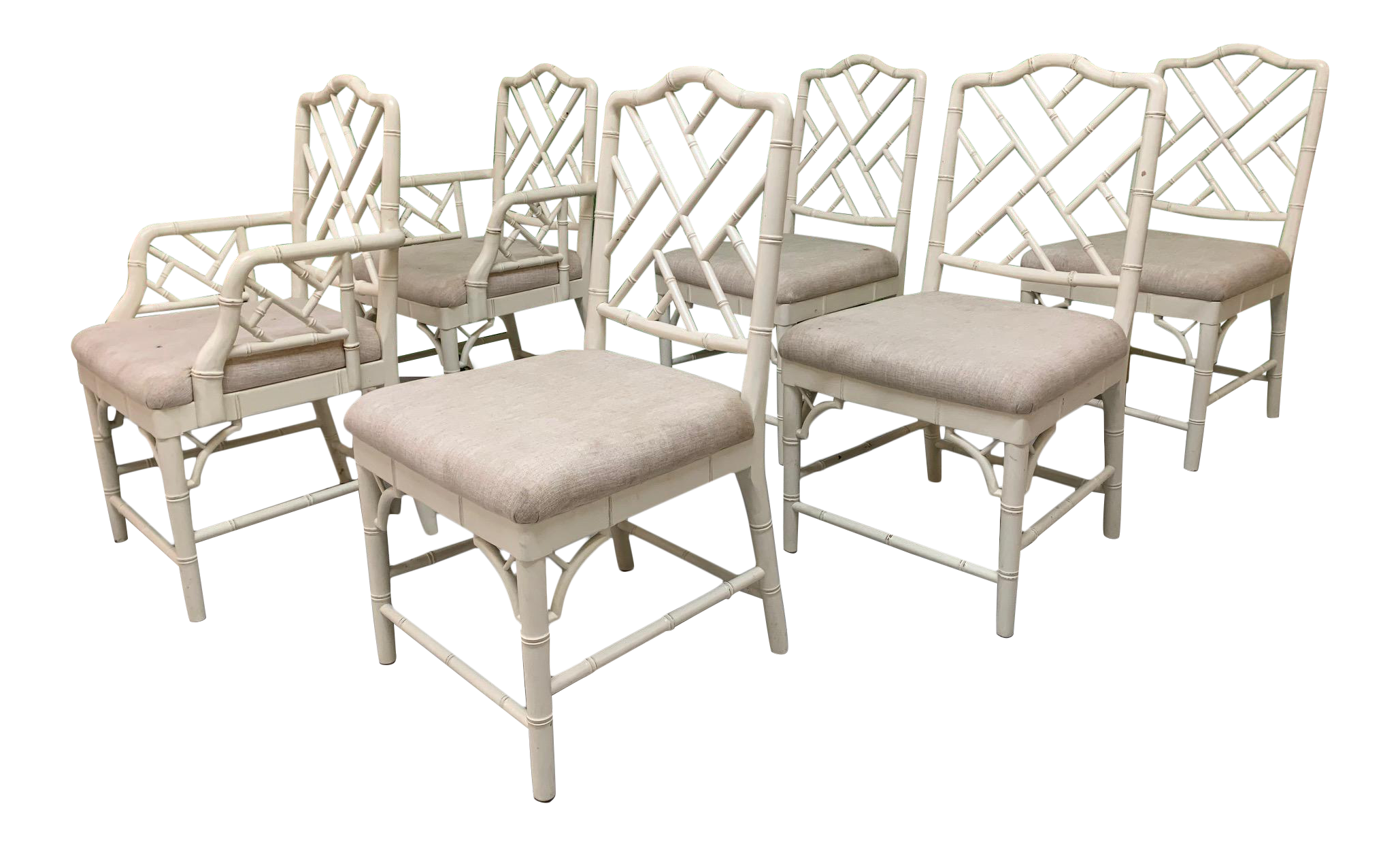 Faux Bamboo Chinese Chippendale Dining Chairs Set Of 6 Chairish