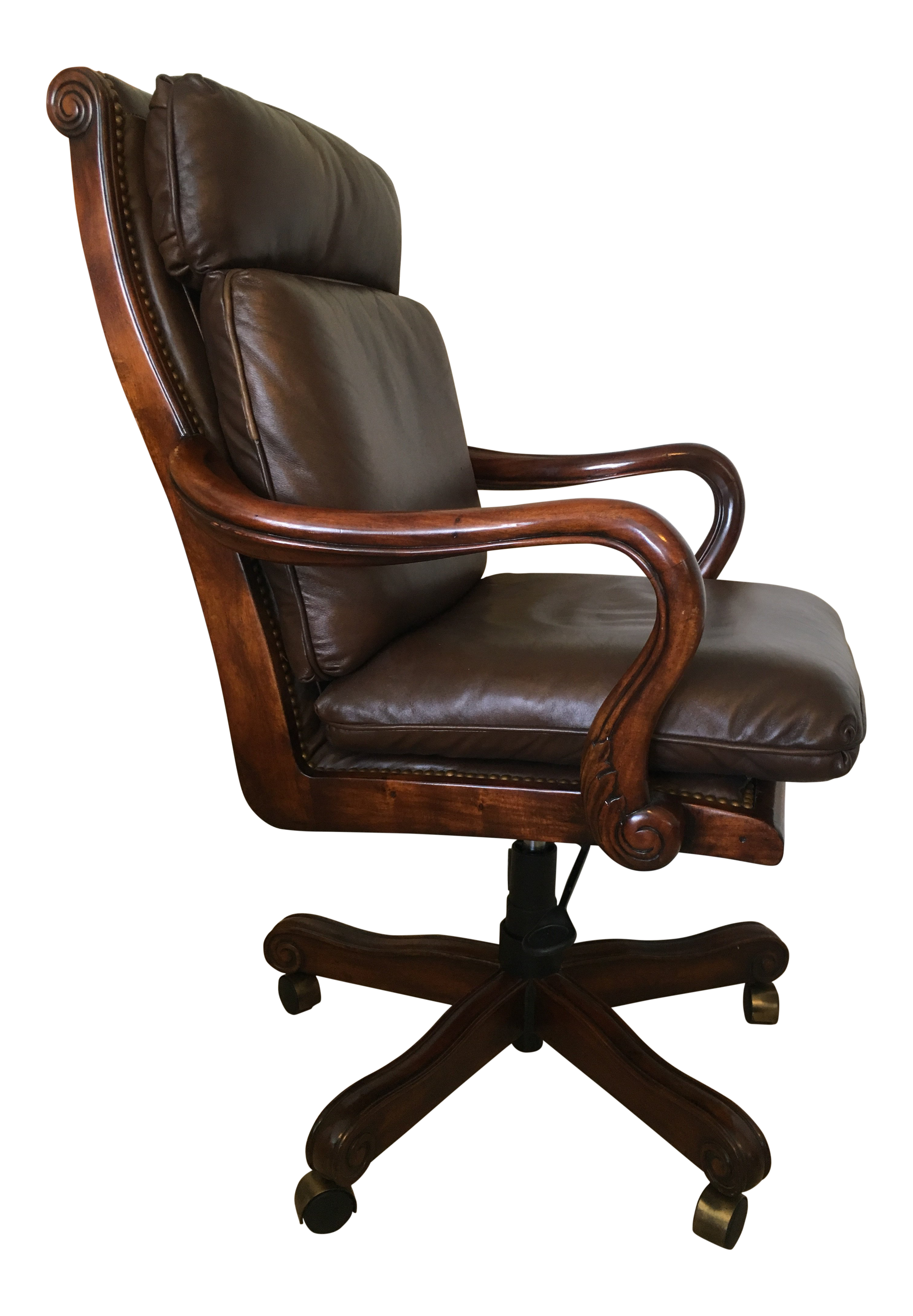 Surprising Genuine Leather And Mahogany Executive Office Swivel Desk Chair Short Links Chair Design For Home Short Linksinfo