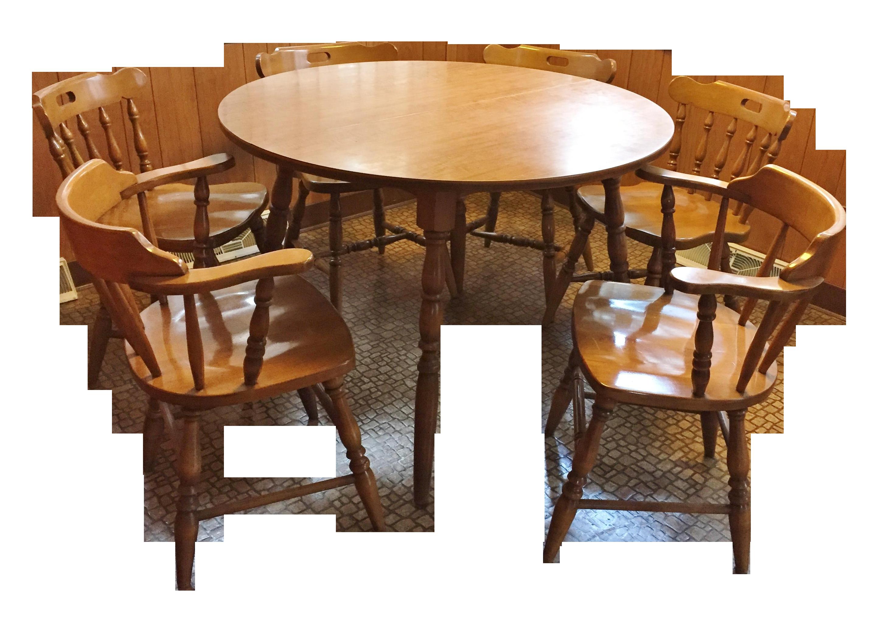 midcentury modern captain's table  six chairs  chairish