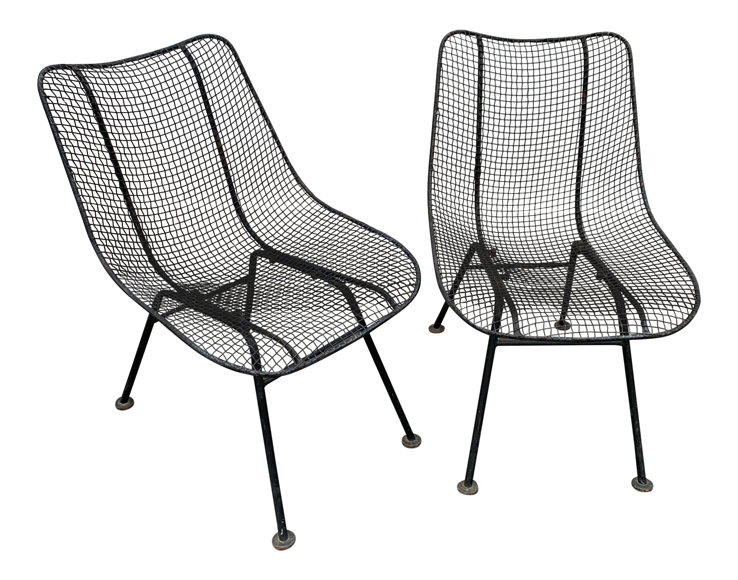 Vintage Russell Woodard Sculptura Mesh Wrought Iron Chairs A Pair