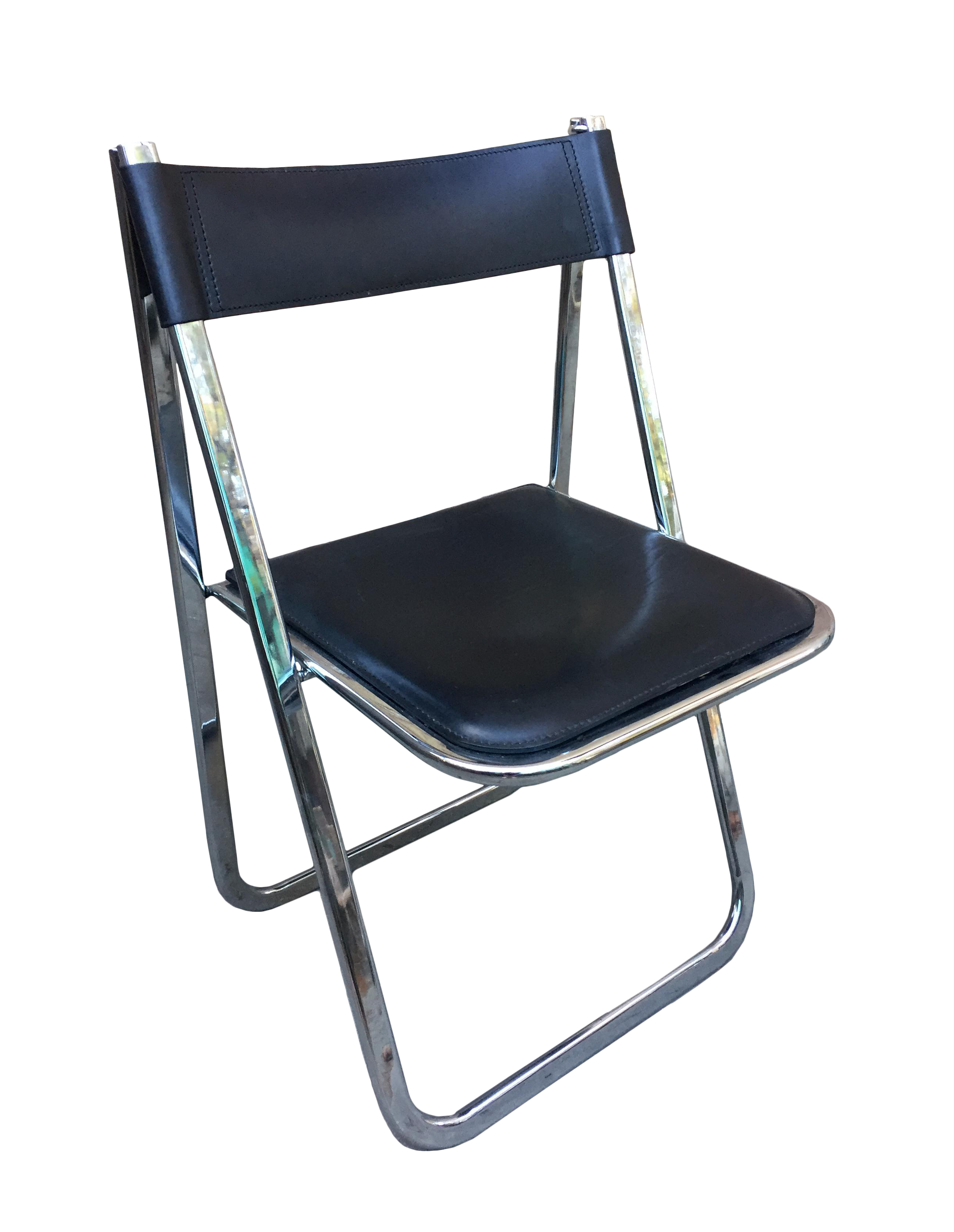 Tamara Black Leather & Chrome Folding Chair by Arrben