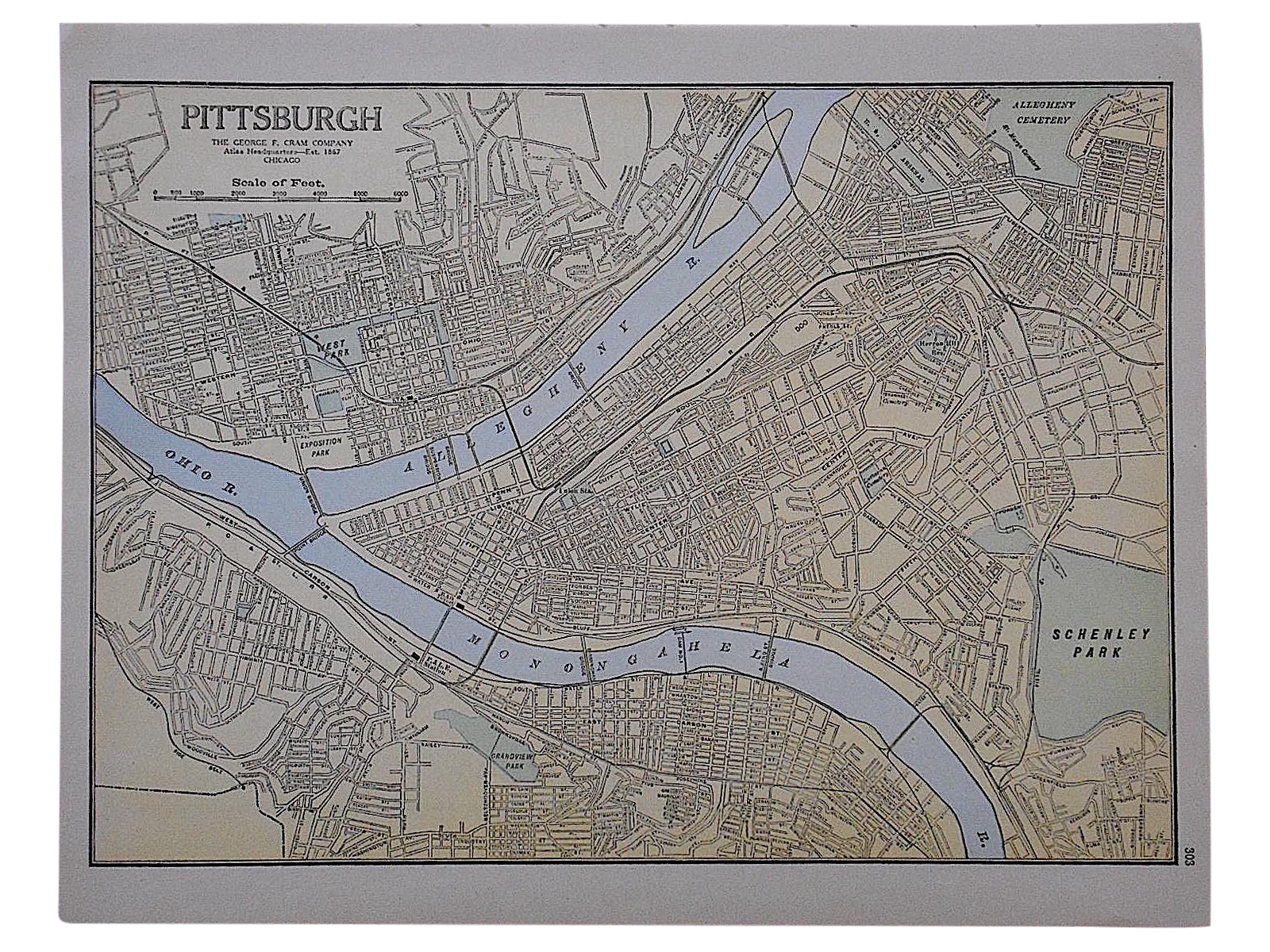 City map antique lithograph pittsburgh chairish for Kitchen cabinet trends 2018 combined with city map wall art