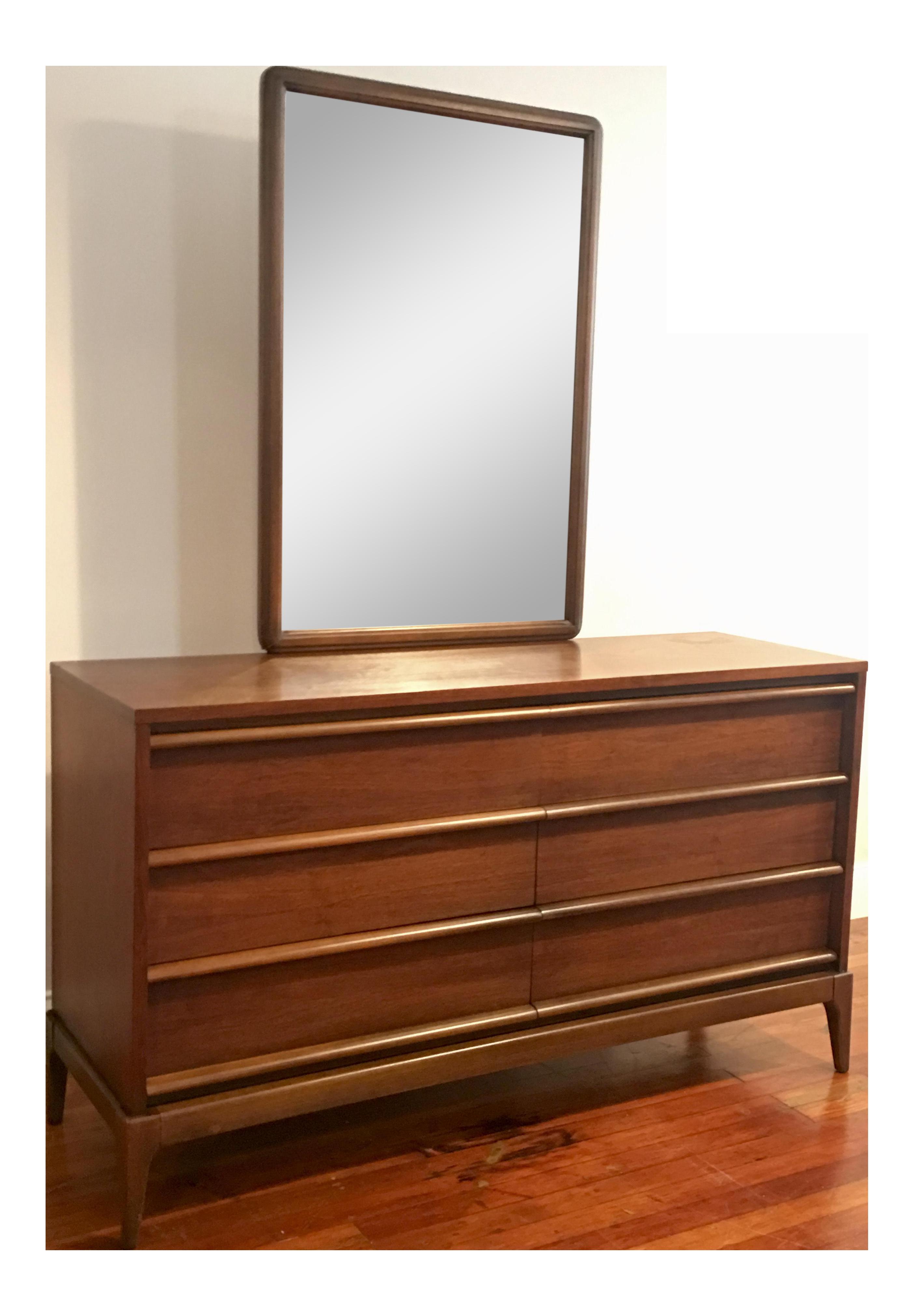 Lane furniture mid century modern rhythm 6 drawer long dresser mirror chairish